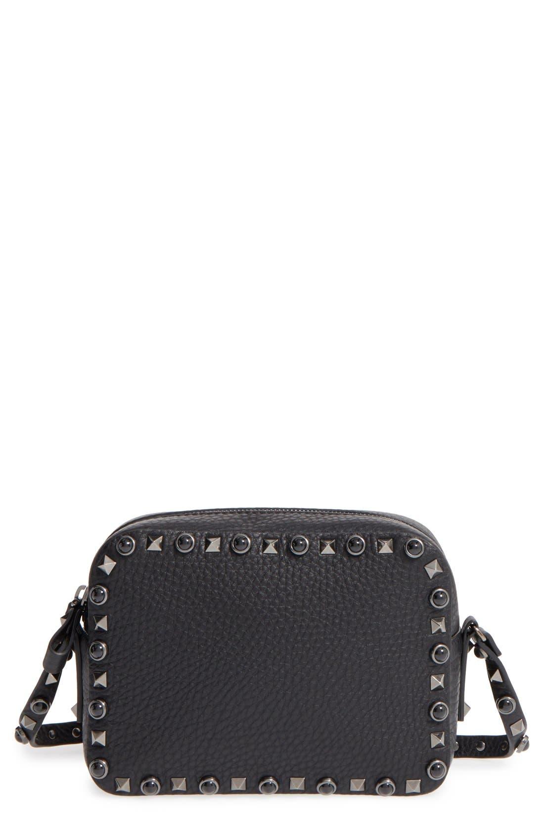 'Rockstud Noir' Camera Crossbody Bag, Main, color, 001