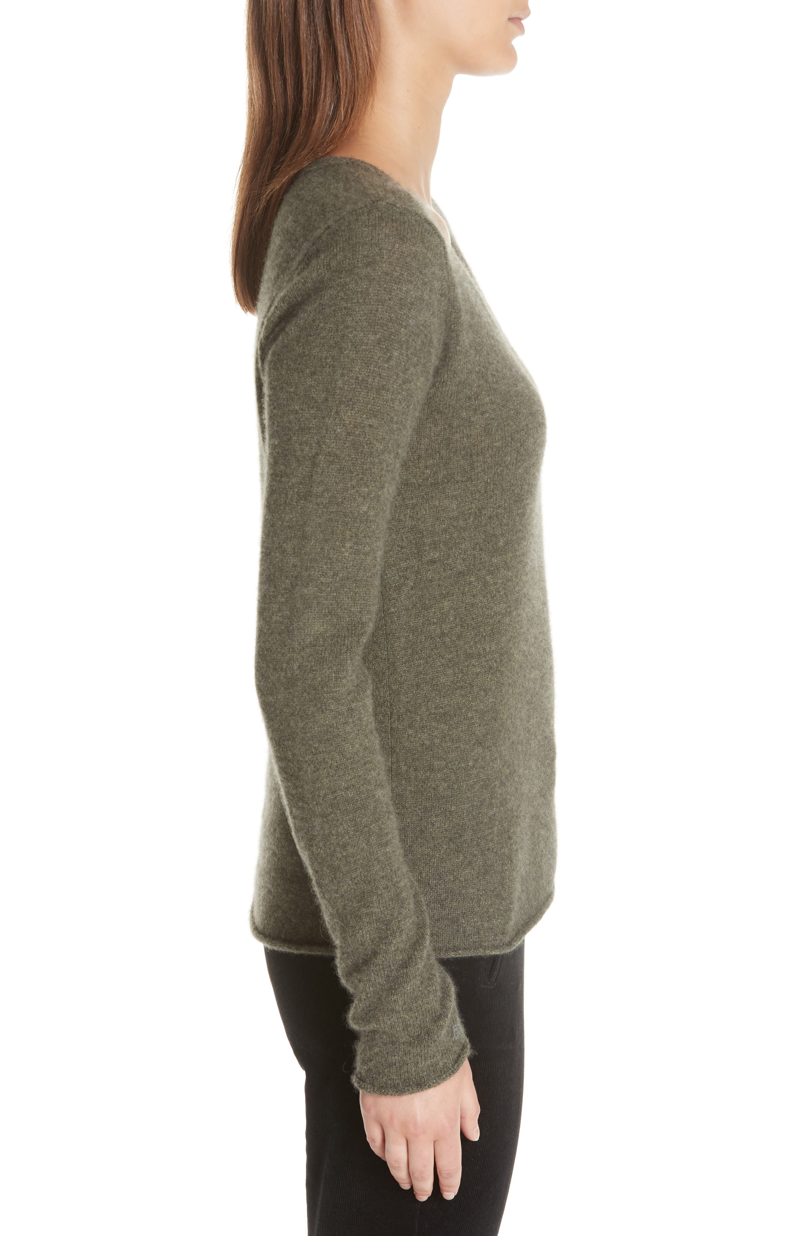 Cashmere V-Neck Sweater,                             Alternate thumbnail 3, color,                             335