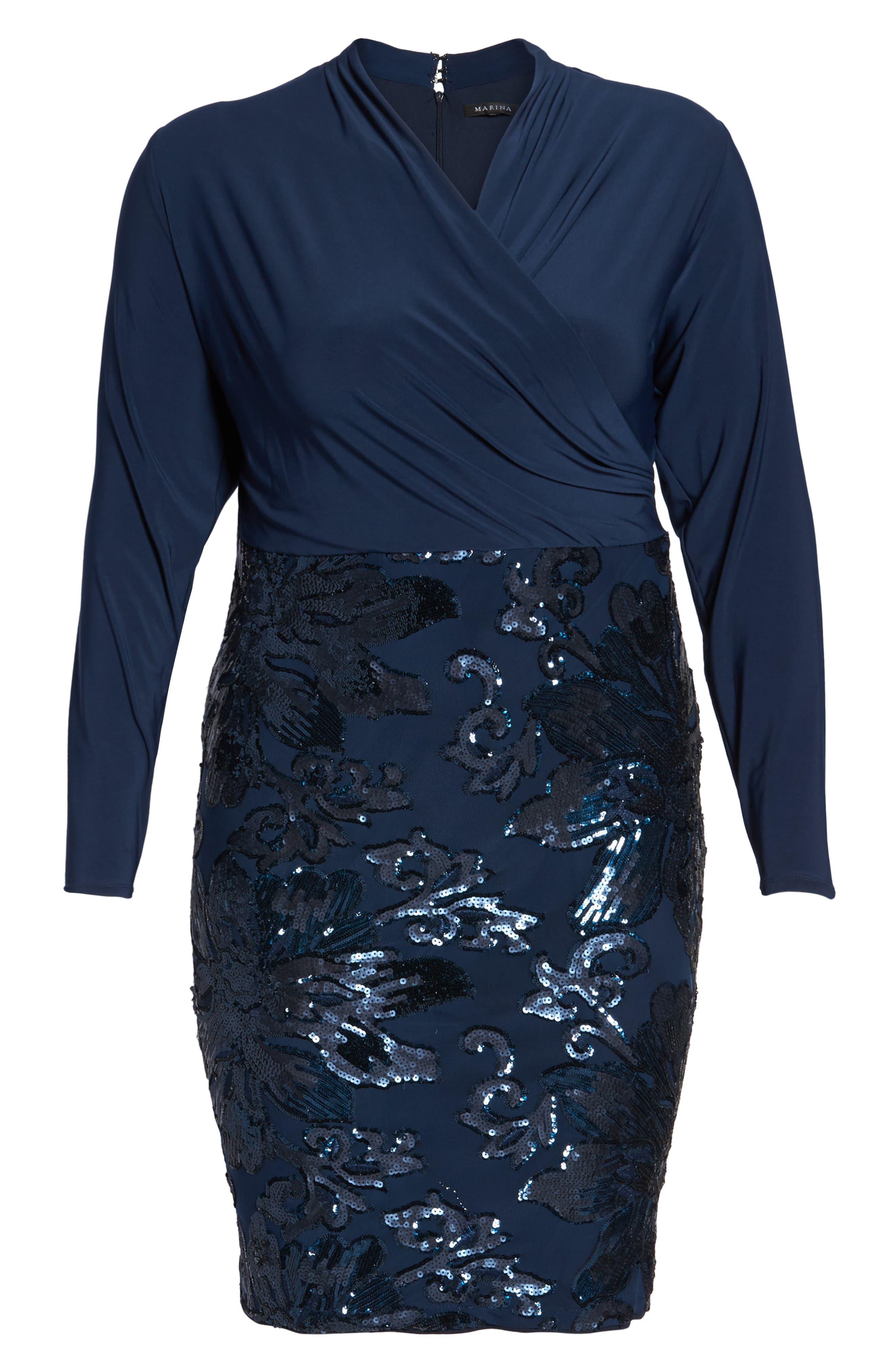Sequin Faux Wrap Sheath Dress,                             Alternate thumbnail 6, color,                             410