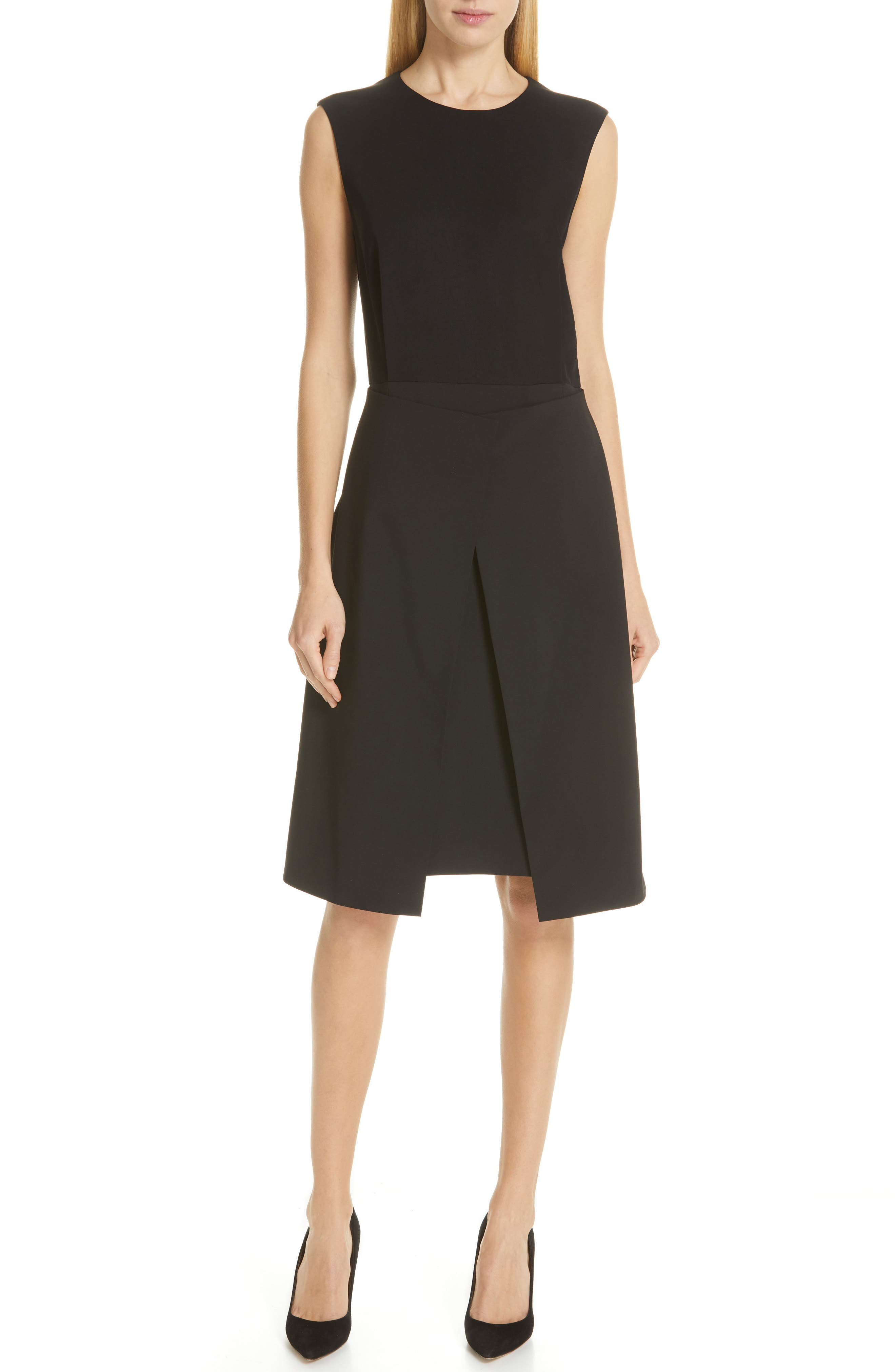 Boss Delieta Mixed Media A-Line Dress, Black