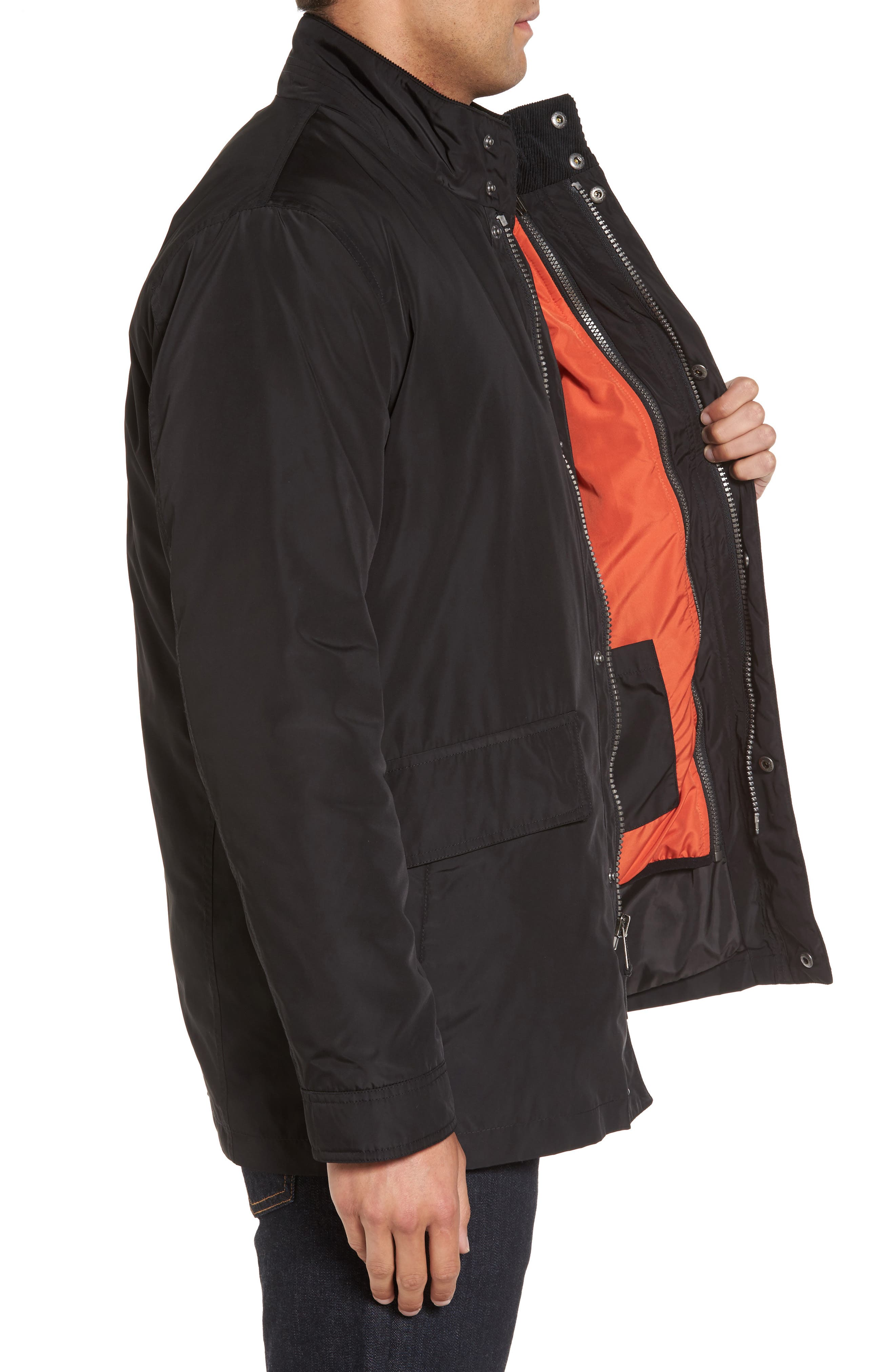 Coat with Removable Bomber Jacket,                             Alternate thumbnail 3, color,                             001