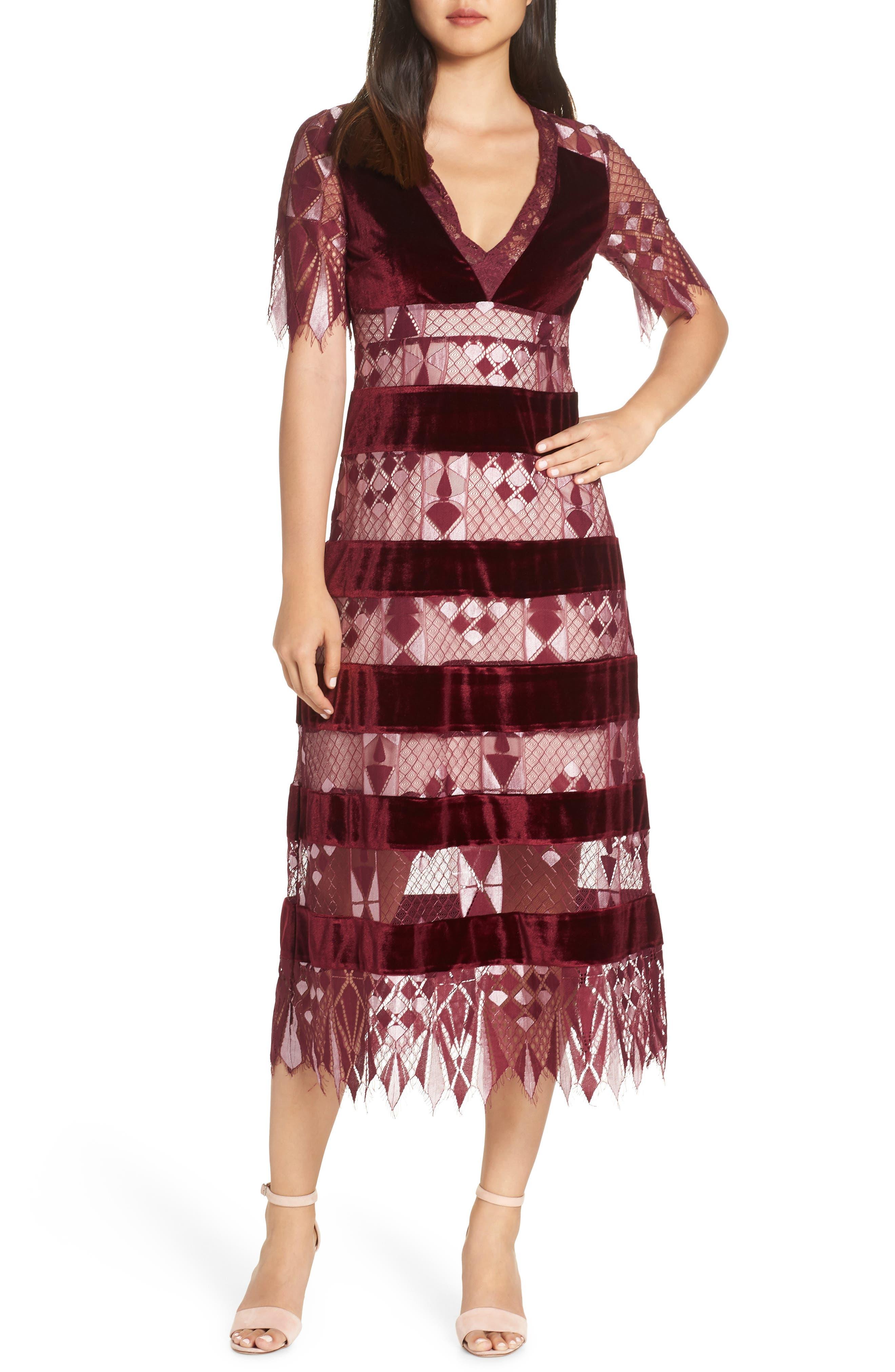 Aria Zulu Lace & Velvet Midi Dress,                             Main thumbnail 1, color,                             BURGUNDY
