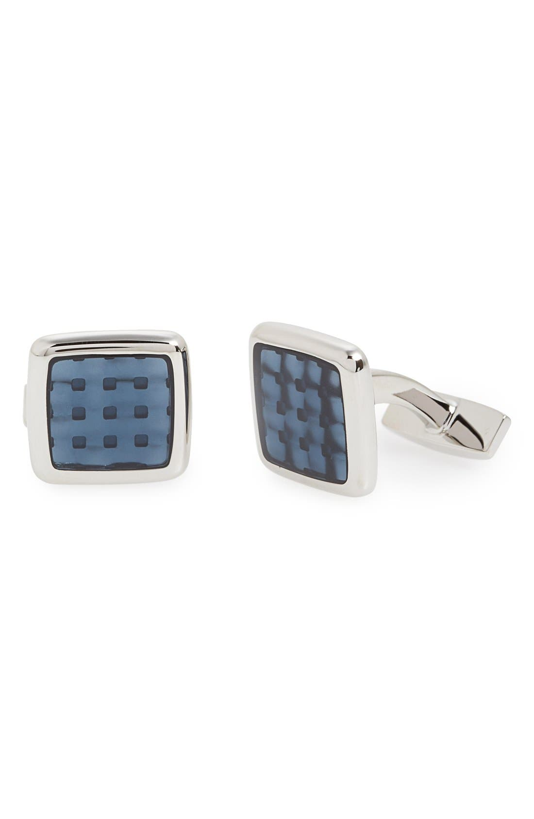 'Peter' Cuff Links,                         Main,                         color, SILVER/ MEDIUM BLUE