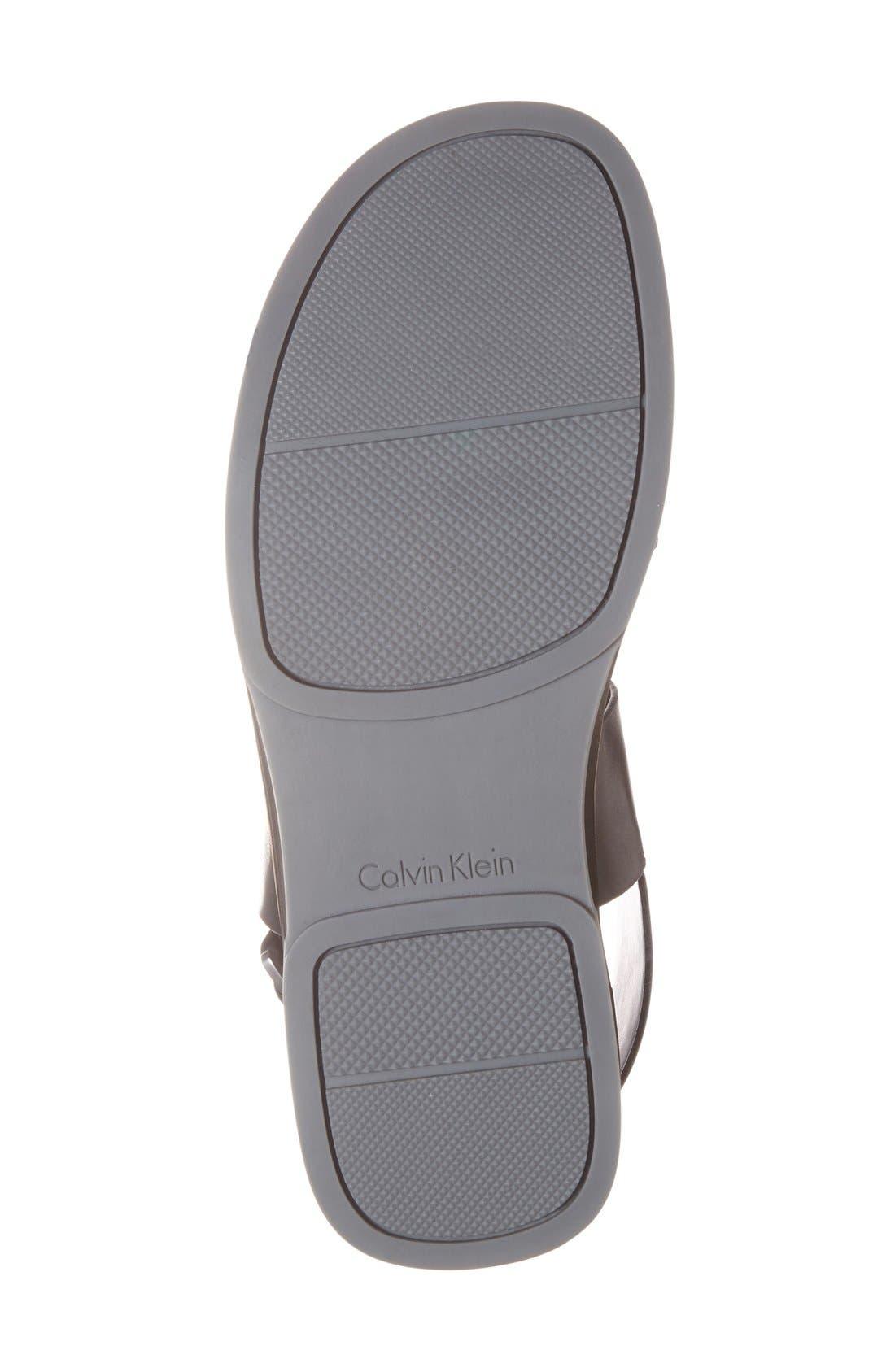 'Dex' Embossed Leather Sandal,                             Alternate thumbnail 2, color,                             001