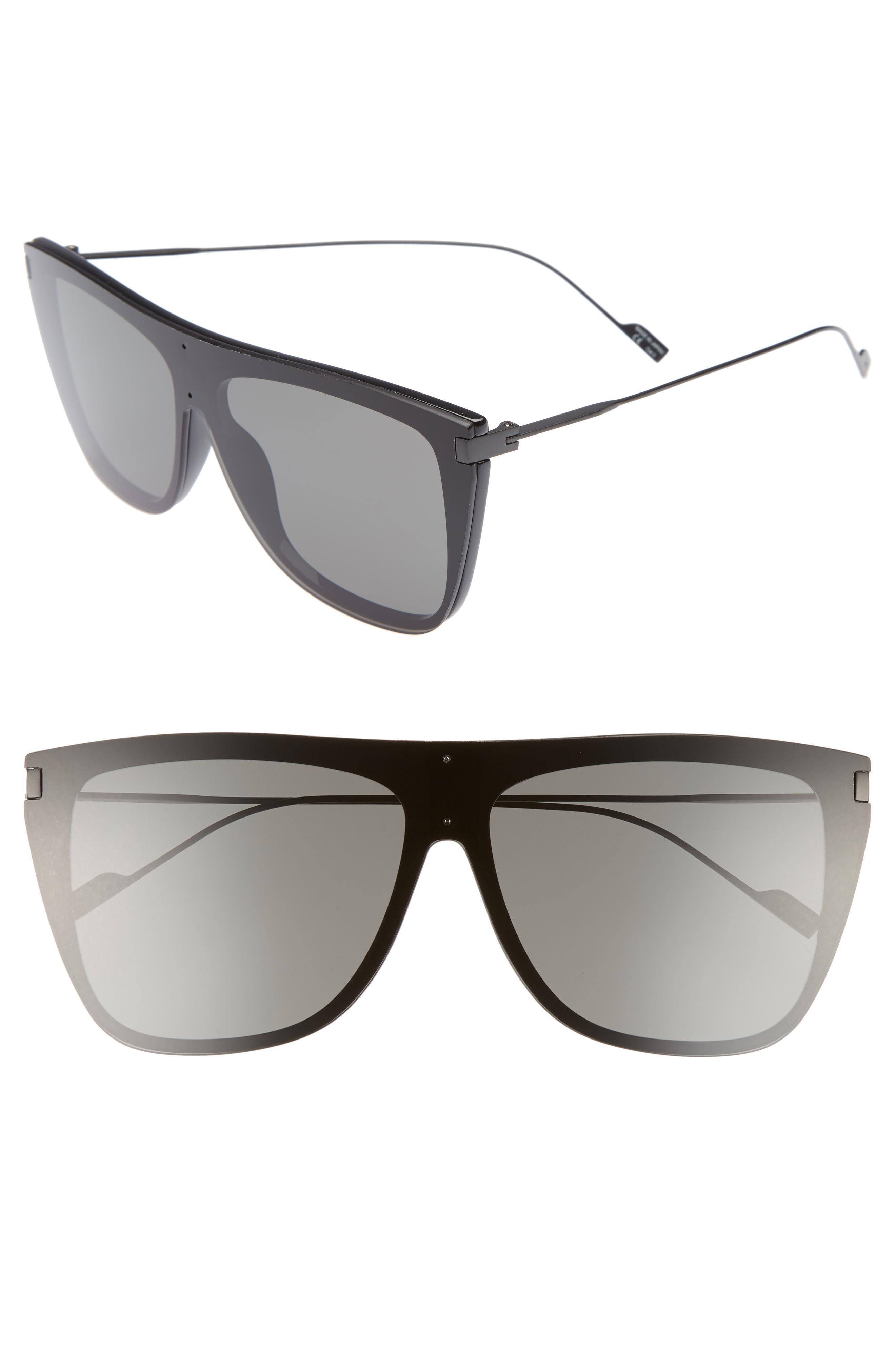 SAINT LAURENT,                             SL 1 T 59mm Flat Top Sunglasses,                             Main thumbnail 1, color,                             BLACK