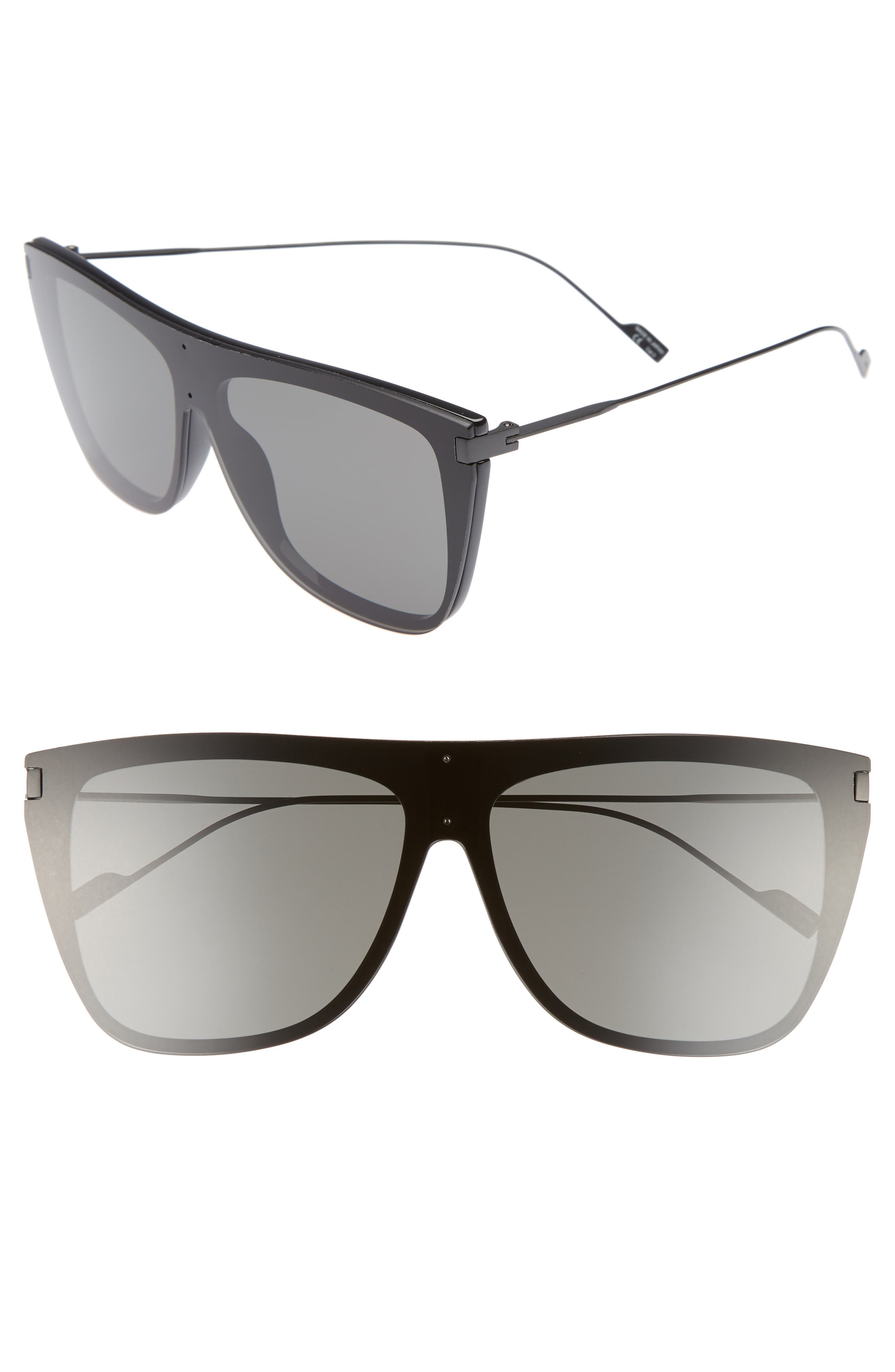SAINT LAURENT SL 1 T 59mm Flat Top Sunglasses, Main, color, BLACK
