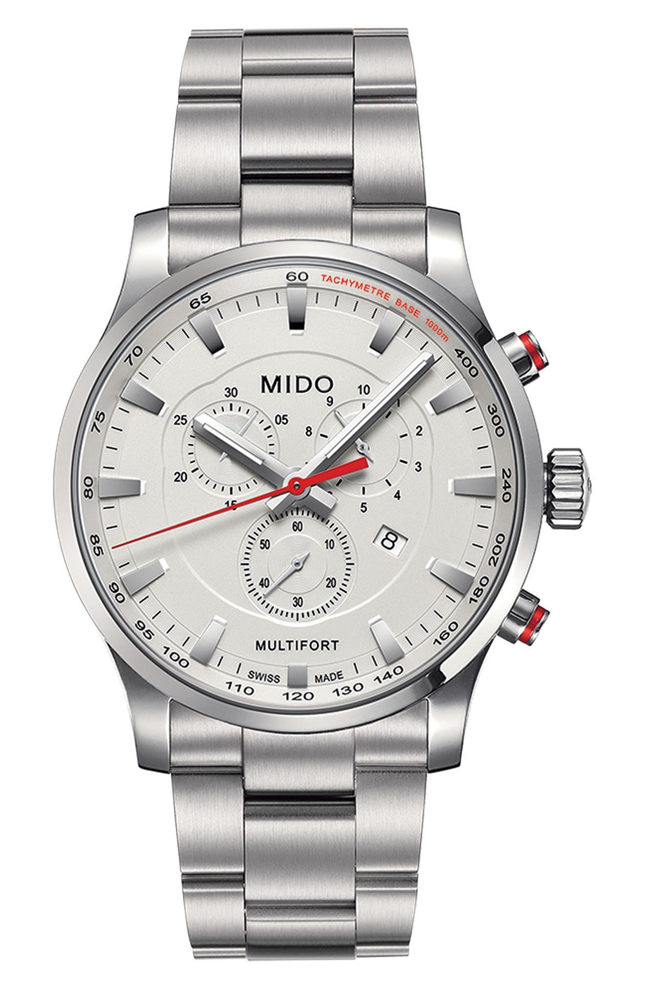 Multifort Chronograph Bracelet Watch, 42mm,                             Alternate thumbnail 3, color,                             040