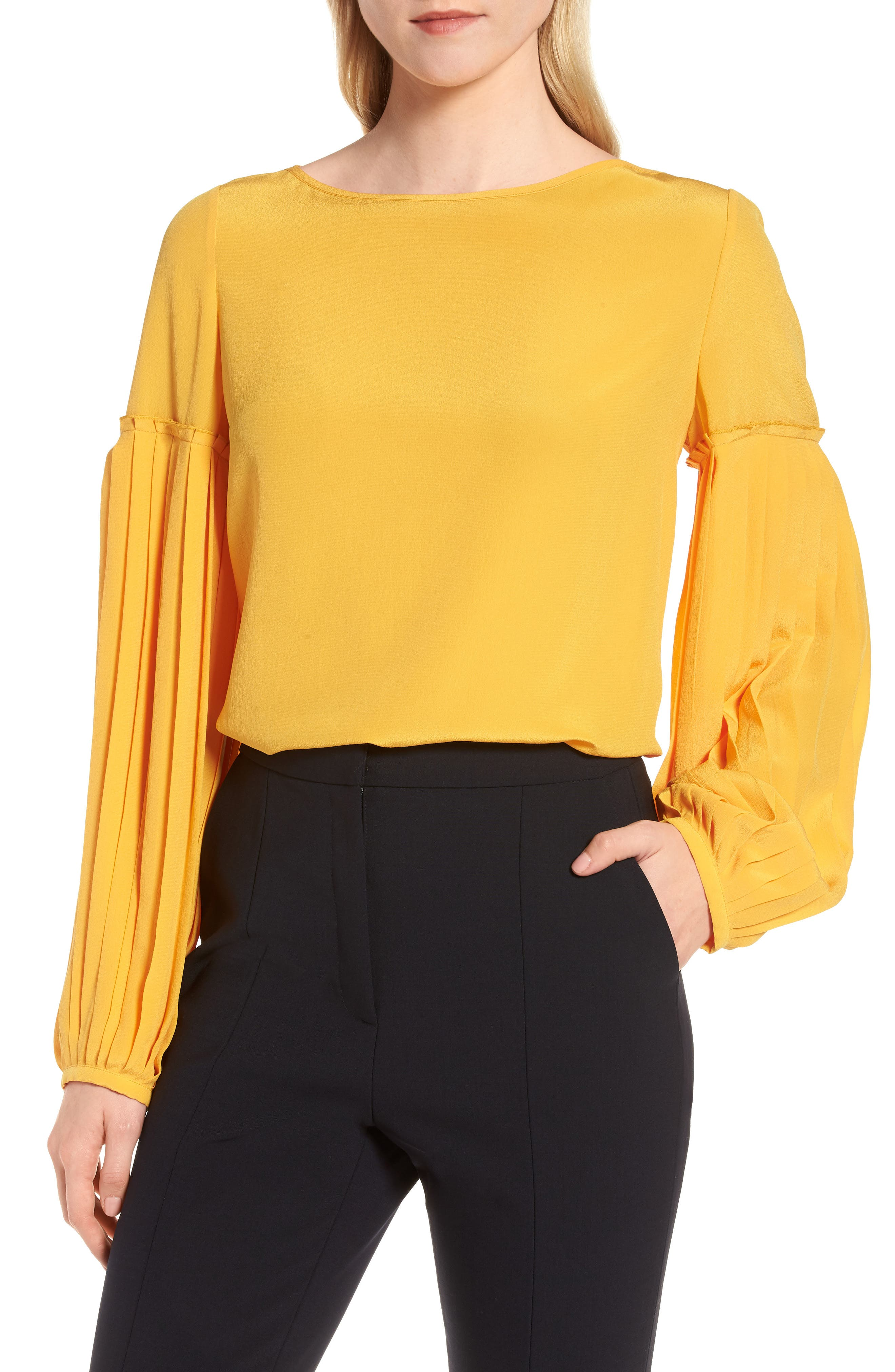 Pleat Sleeve Silk Top,                             Main thumbnail 1, color,                             ORANGE RAY