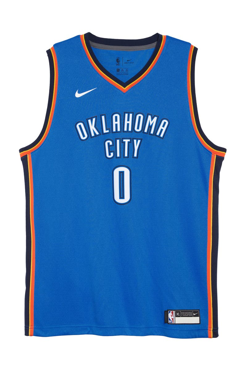 NBA Logo Oklahoma City Thunder Russell Westbrook Basketball Jersey ...