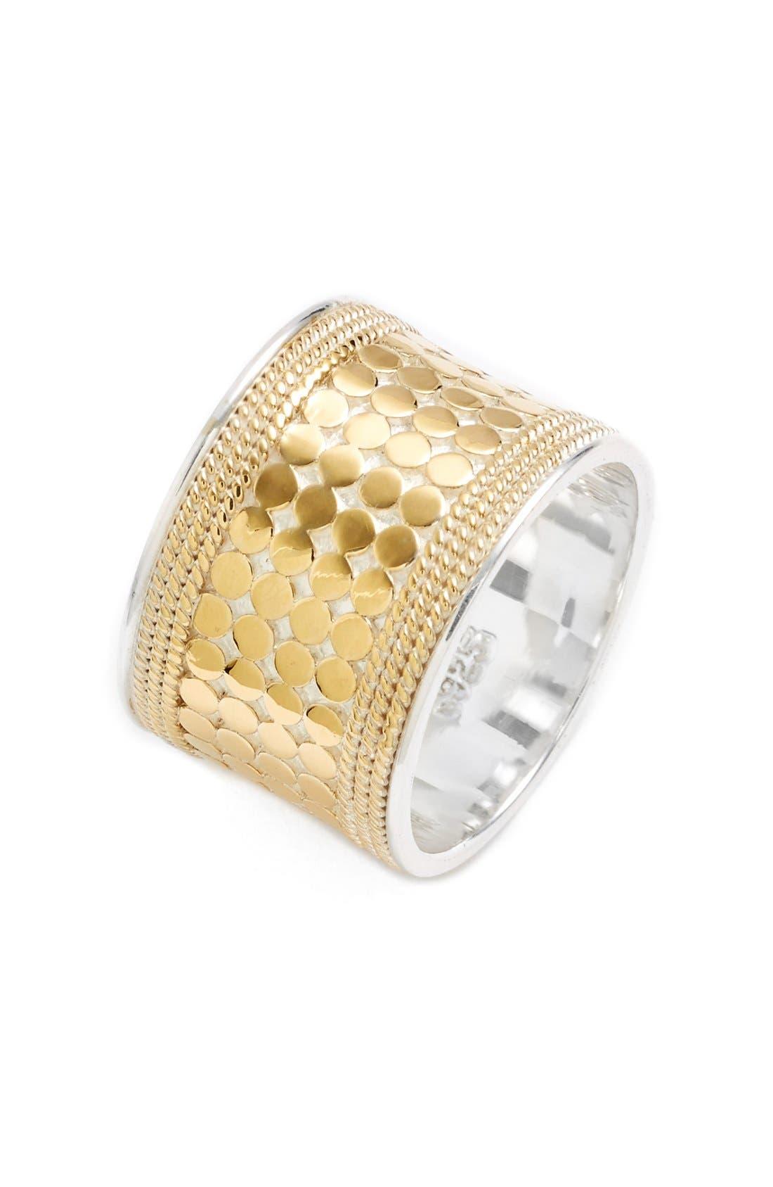 'Gili' Cigar Band Ring,                             Main thumbnail 1, color,                             GILI - SILVER / GOLD