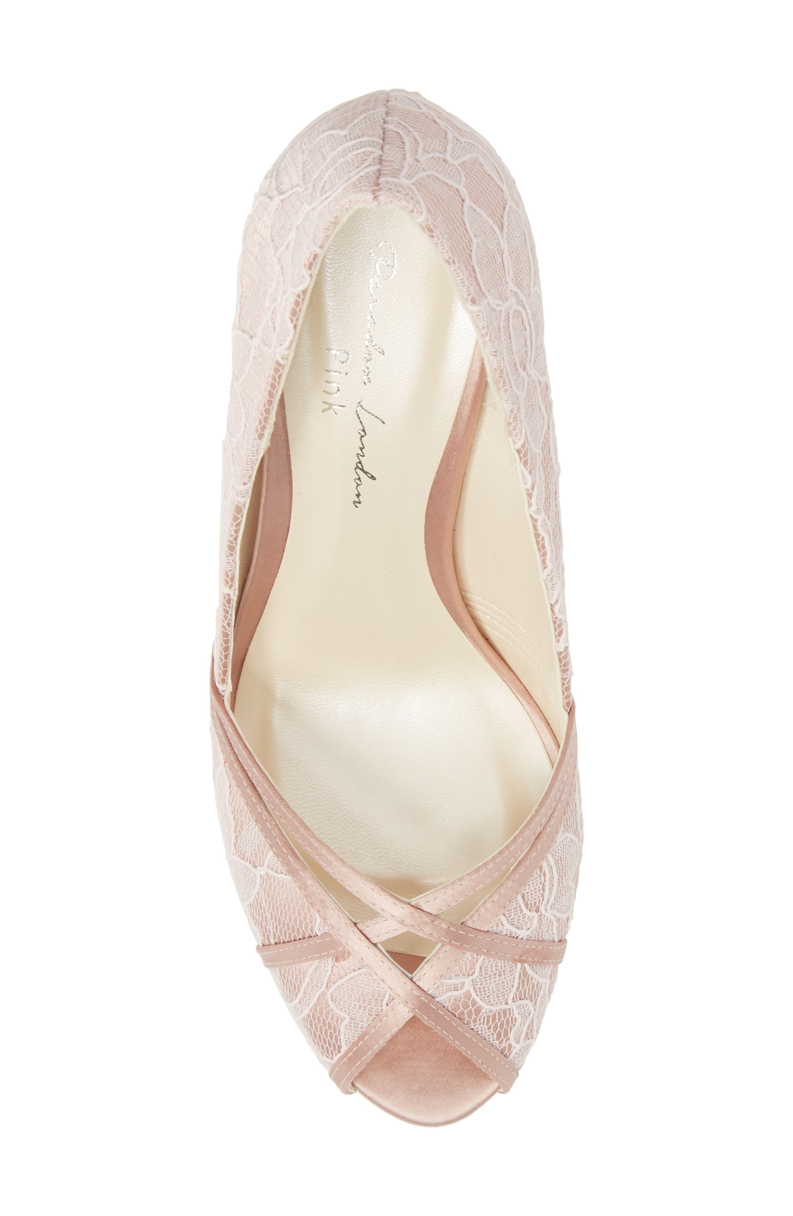 Cherie Embroidered Peep Toe Pump,                             Alternate thumbnail 5, color,                             BLUSH SATIN