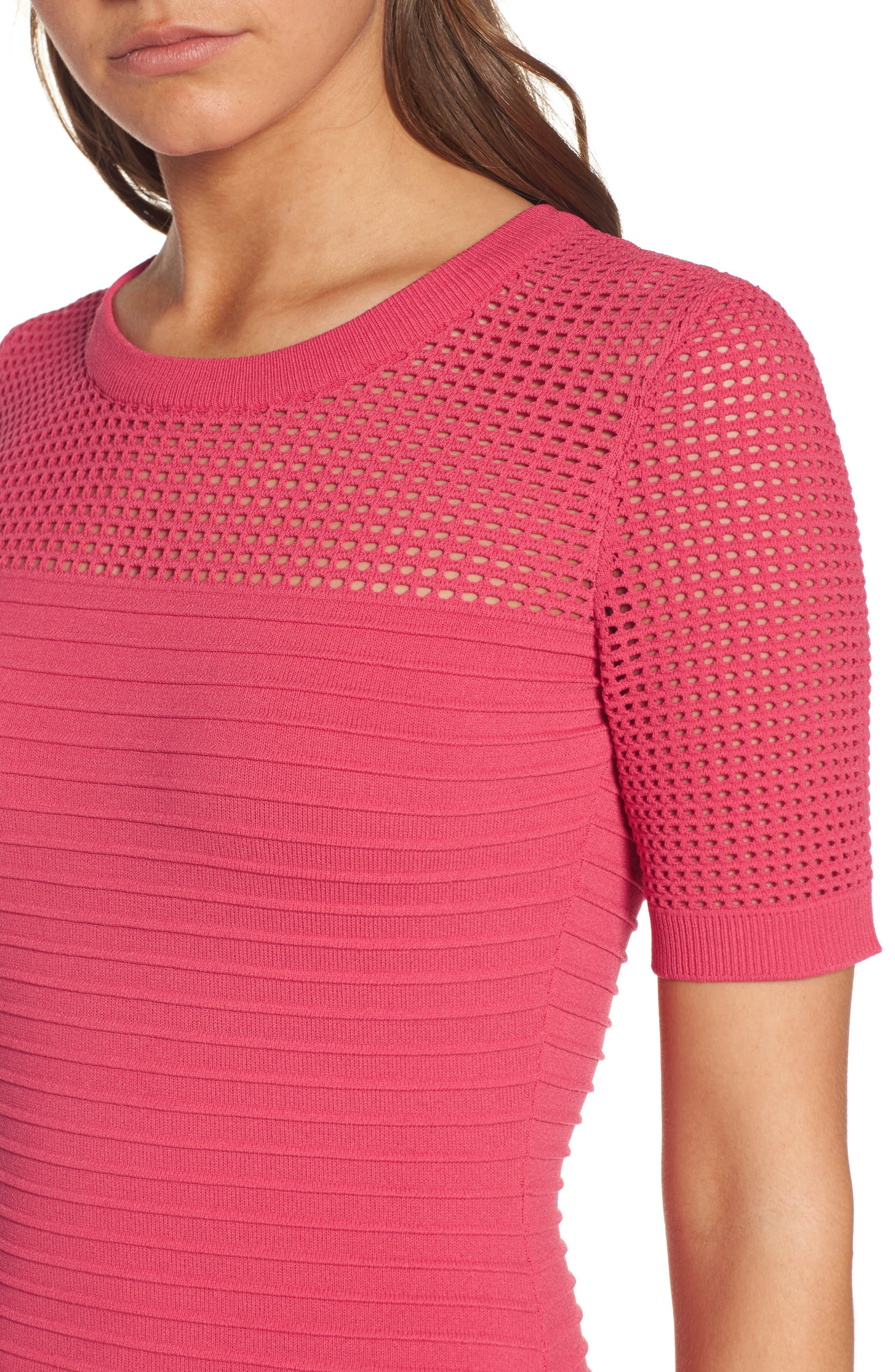 Open Weave Body-Con Dress,                             Alternate thumbnail 4, color,                             650