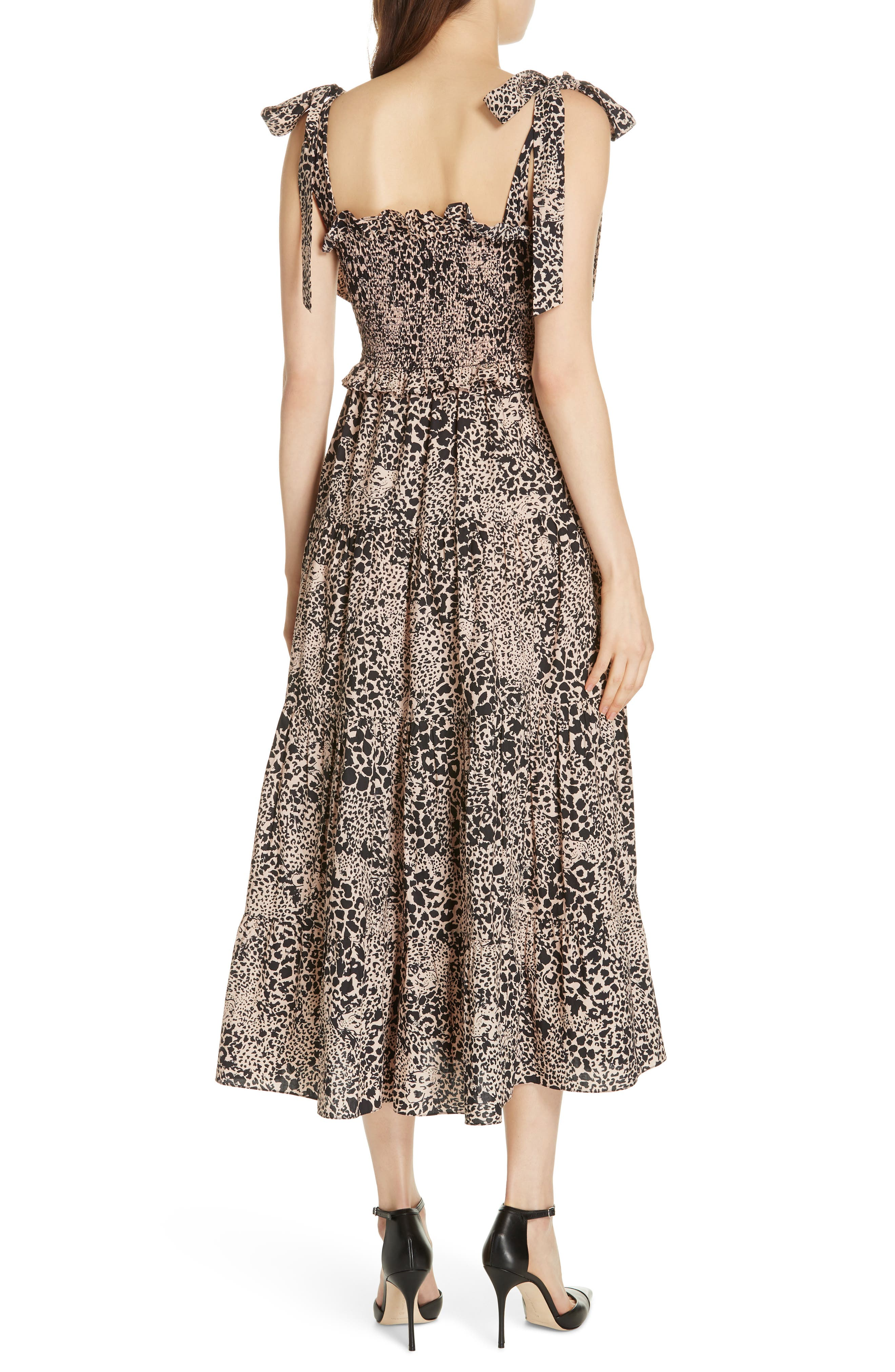 Leopard Print Smocked Dress,                             Alternate thumbnail 2, color,                             CHAMPAGNE COMBO