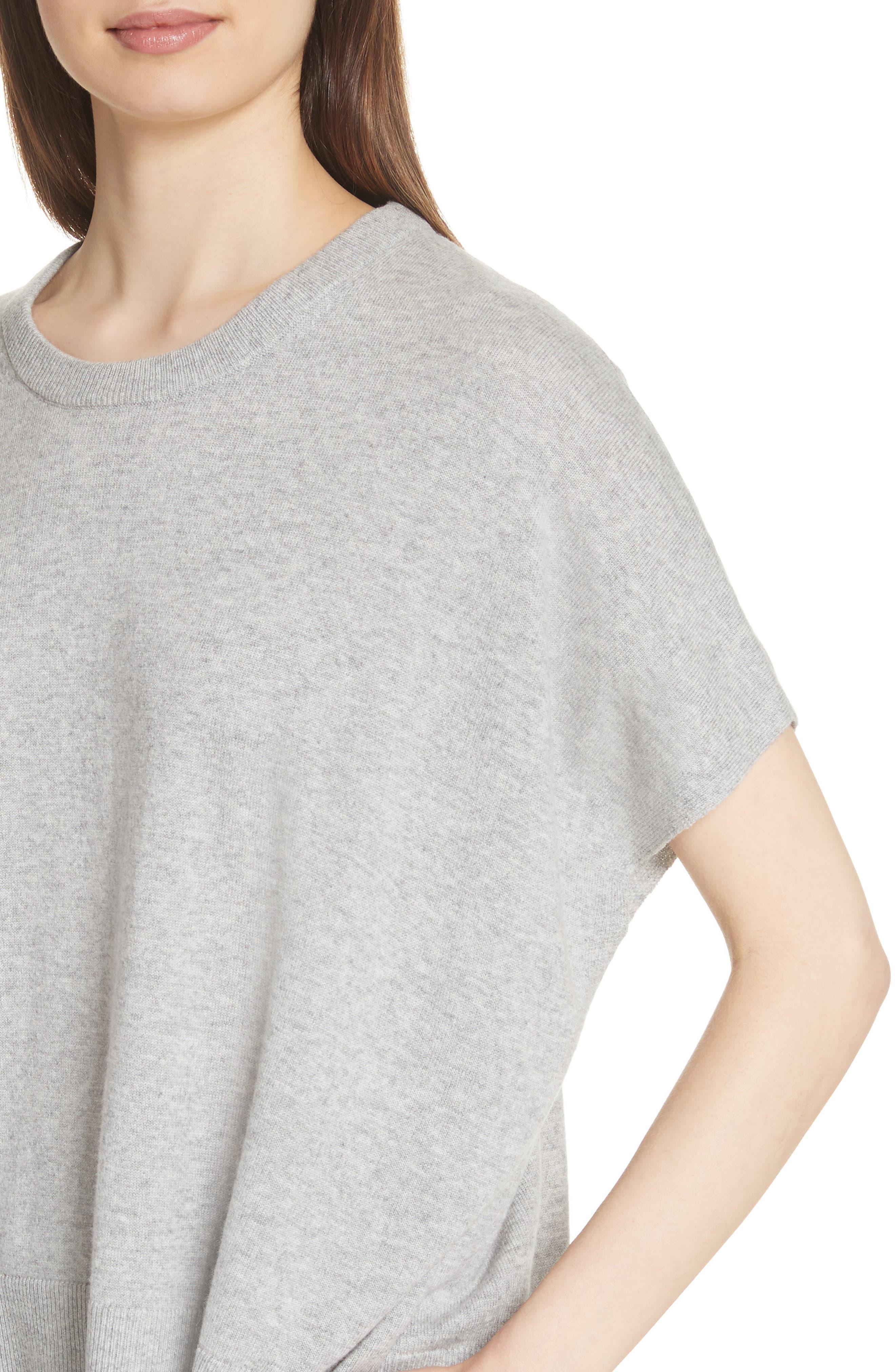 Cashmere Draped Pullover,                             Alternate thumbnail 4, color,                             PEARL GREY MELANGE
