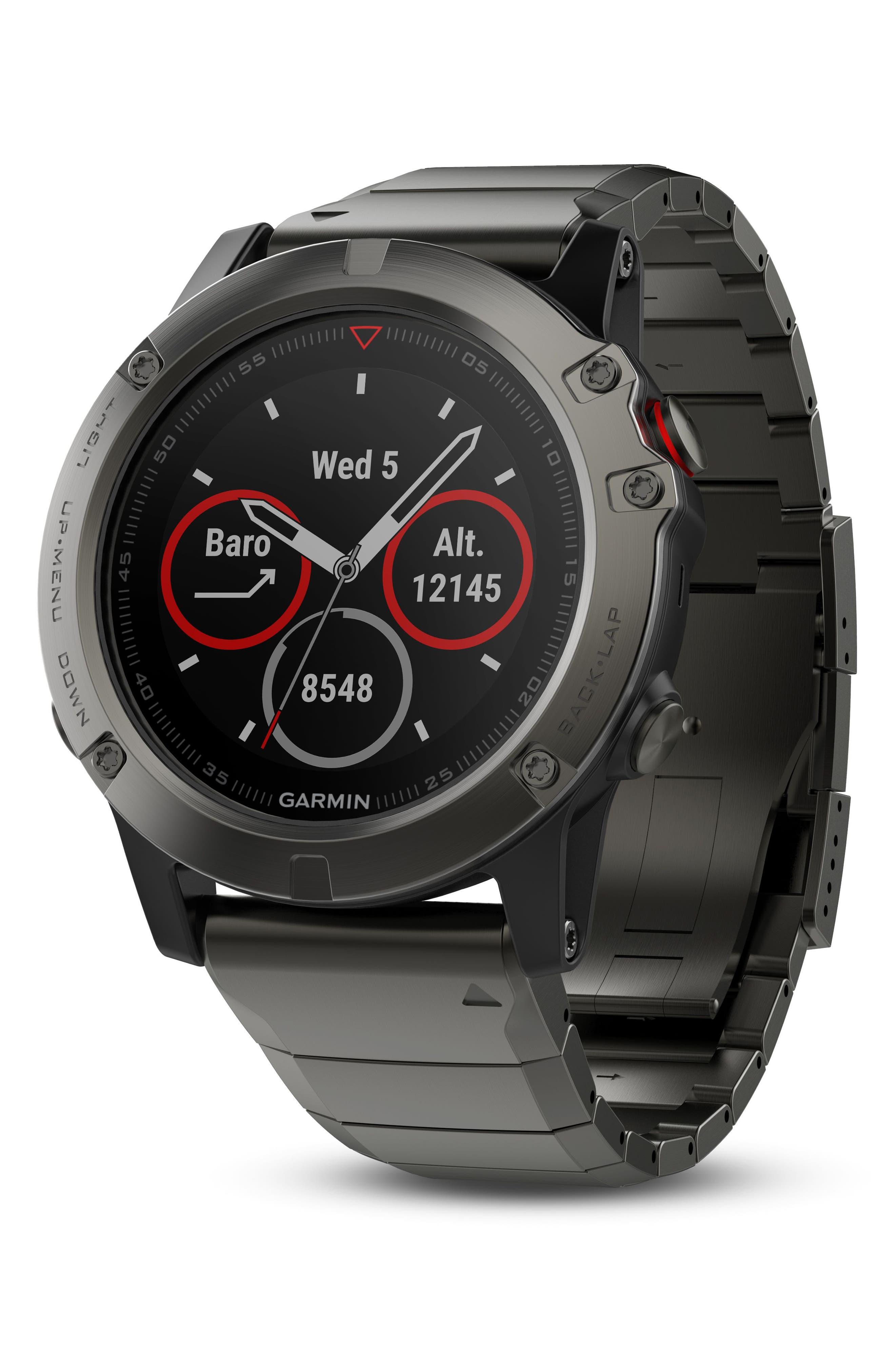 fenix<sup>®</sup> 5X Sapphire Premium Multisport GPS Watch, 51mm,                             Alternate thumbnail 3, color,                             GUNMETAL/ SLATE GRAY SAPPHIRE