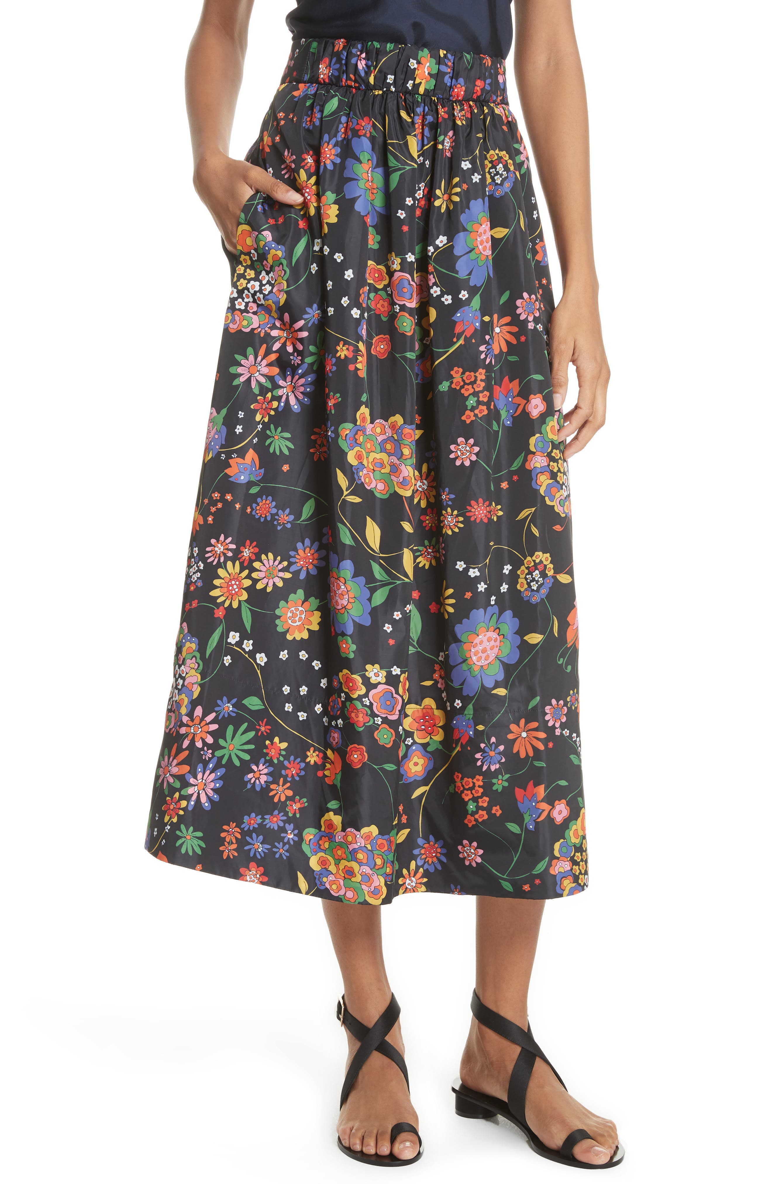 Print Tech Floral Skirt,                             Main thumbnail 1, color,                             402