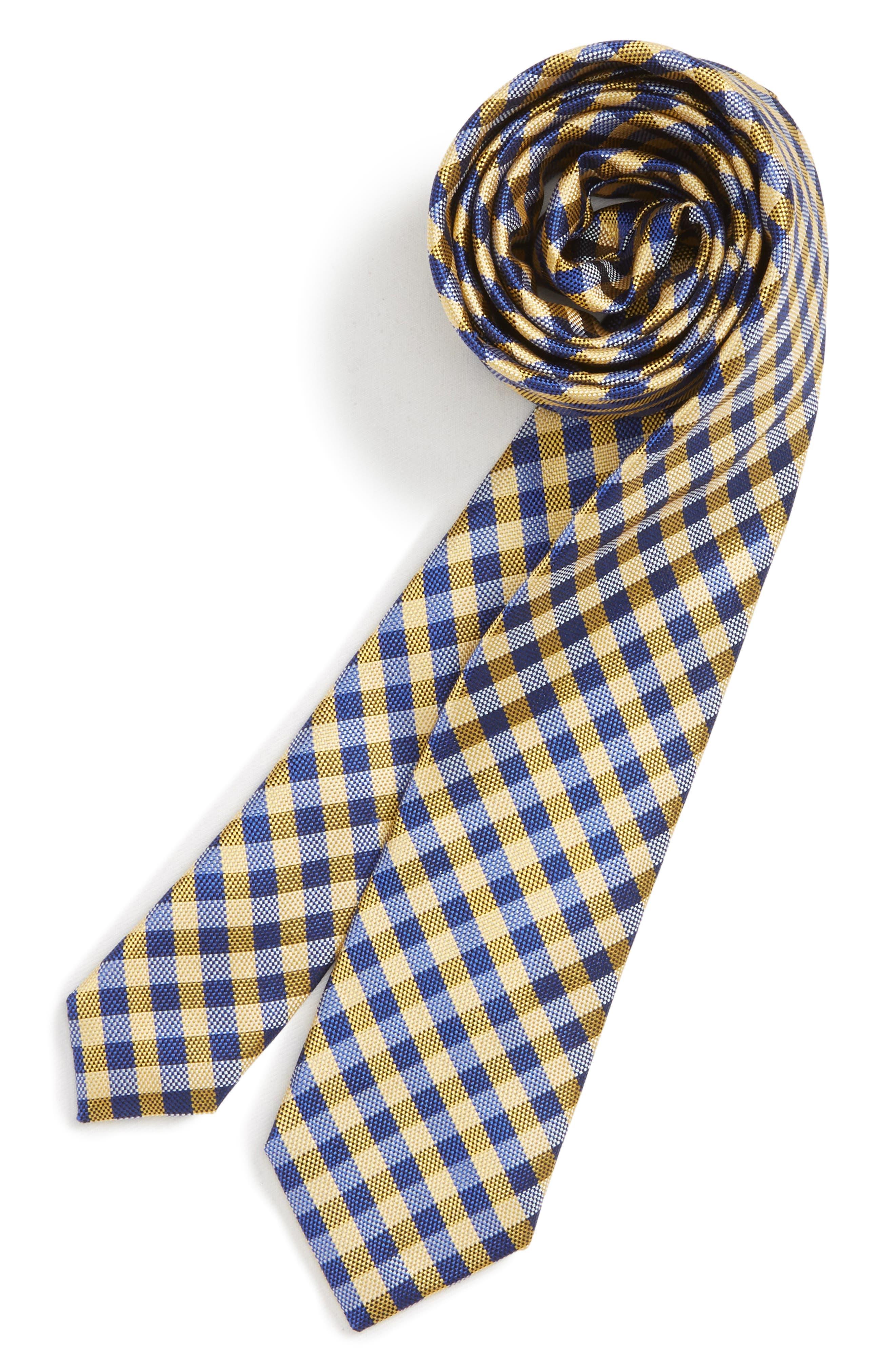 Check Silk Tie,                             Main thumbnail 1, color,                             YELLOW