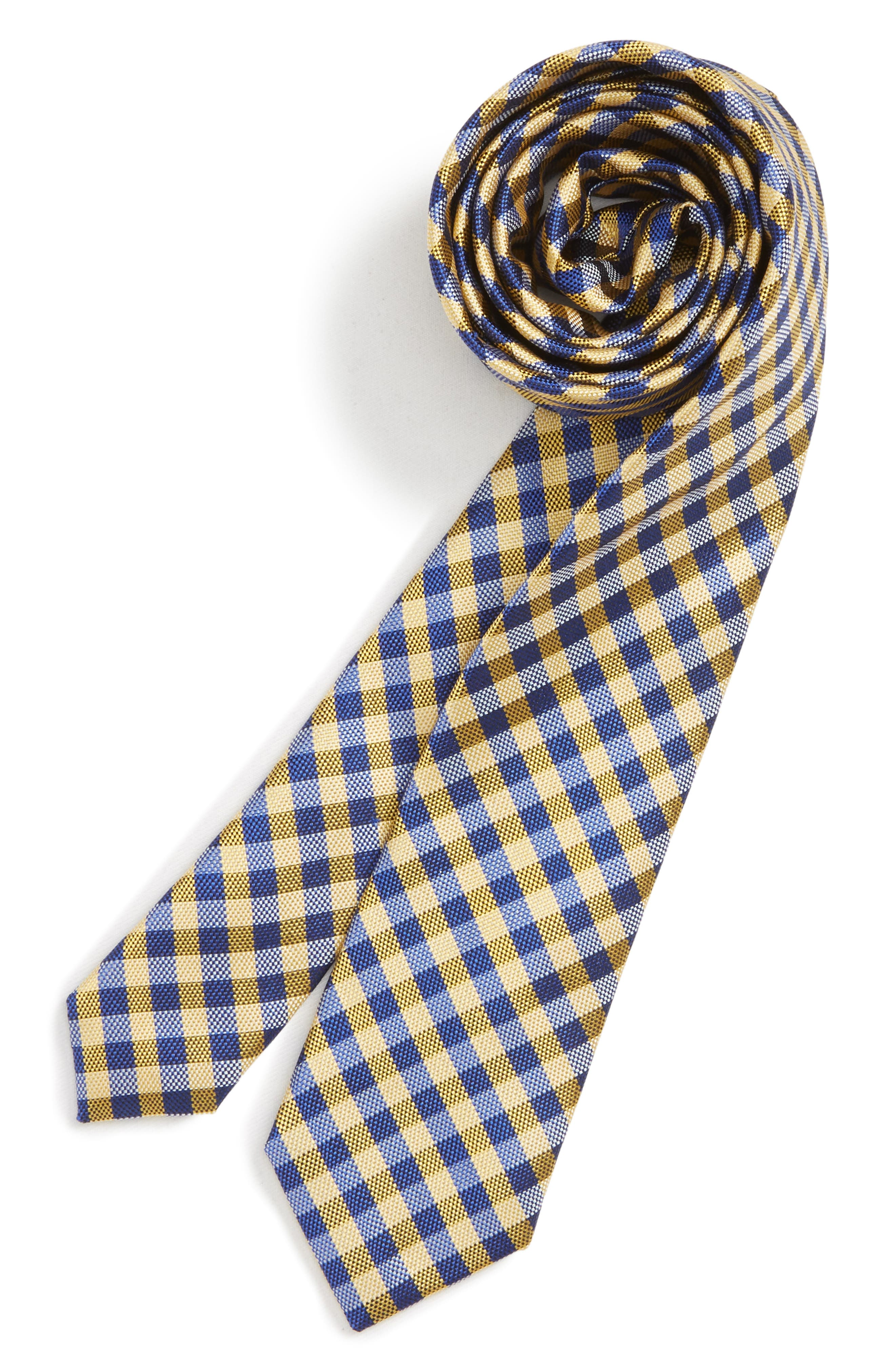 Check Silk Tie,                         Main,                         color, YELLOW