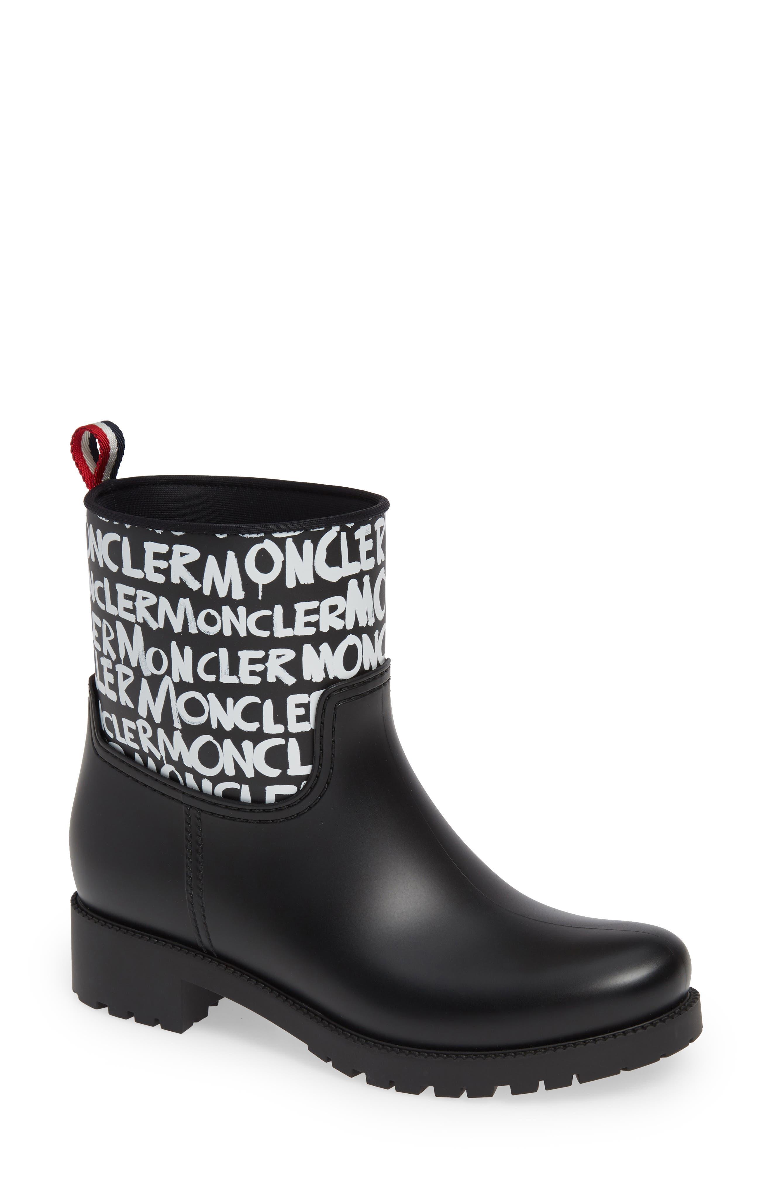 Moncler Ginette Stivale Logo Waterproof Rain Boot, Black