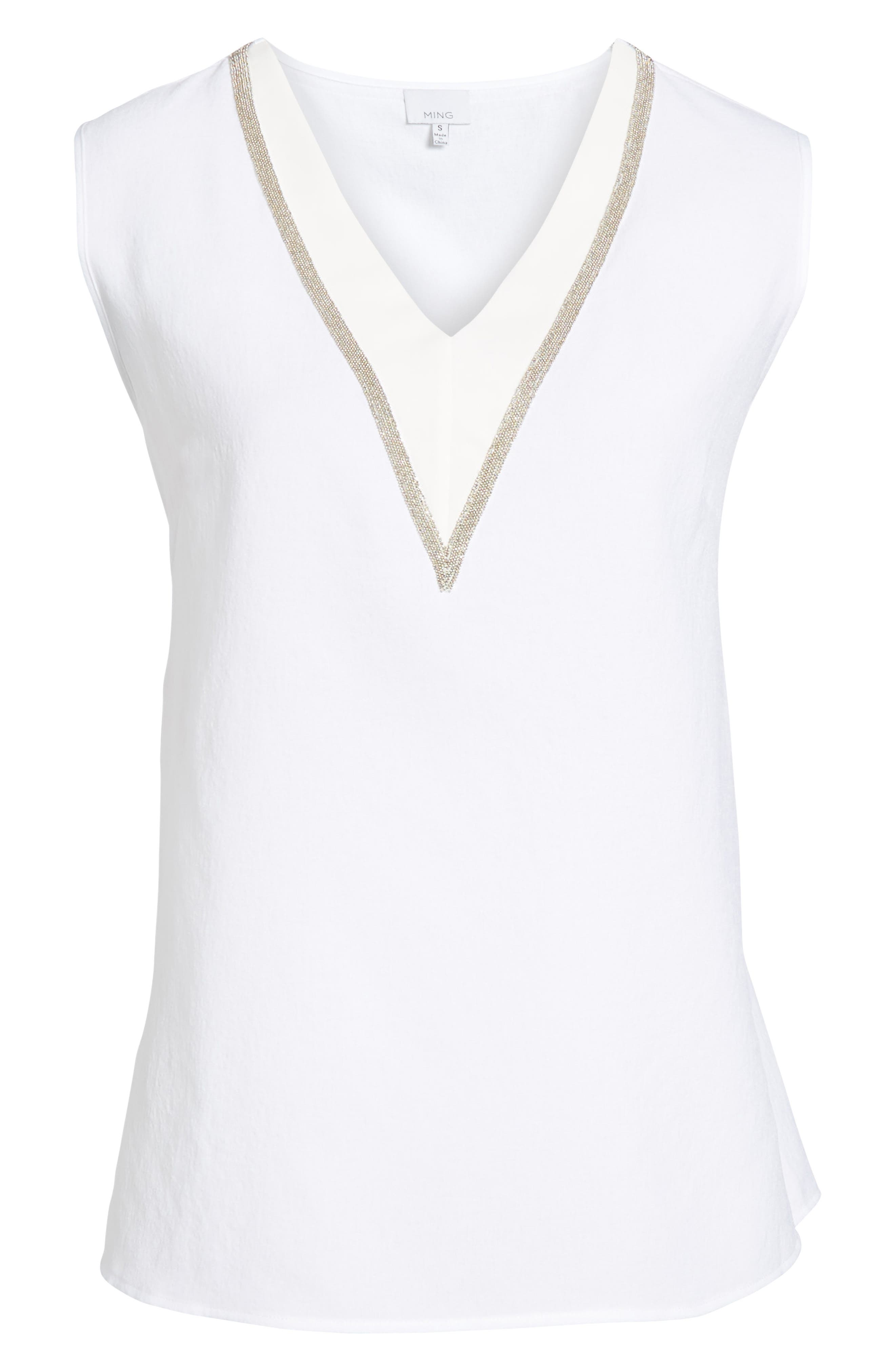 V-Neck Accent Tank,                             Alternate thumbnail 6, color,                             WHITE