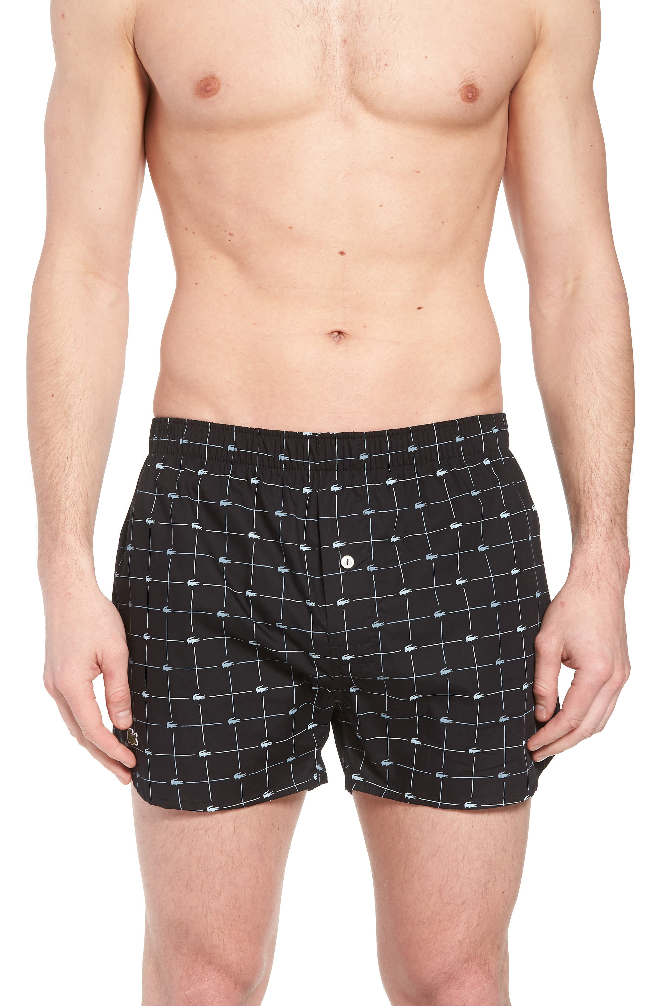 Cotton Boxers,                             Main thumbnail 1, color,                             BLACK/ GREY