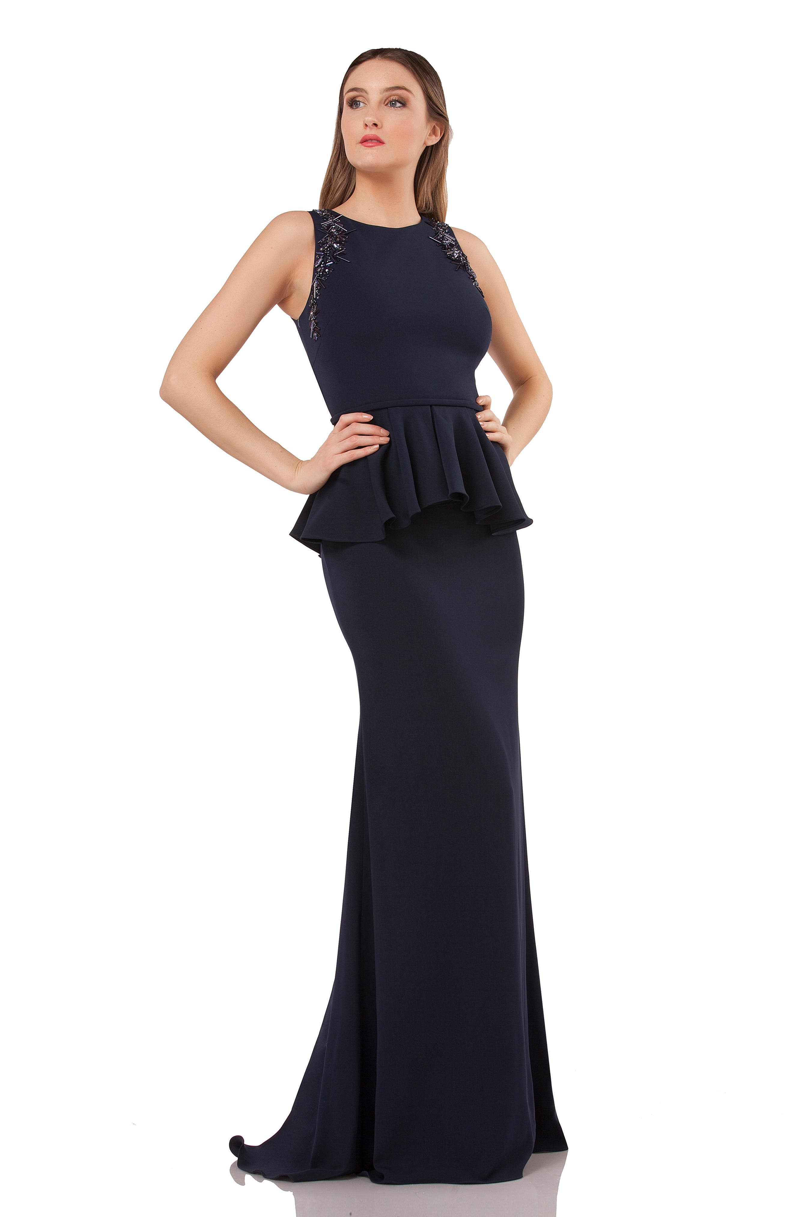 Embellished Peplum Waist Crepe Gown,                             Alternate thumbnail 5, color,                             MIDNIGHT