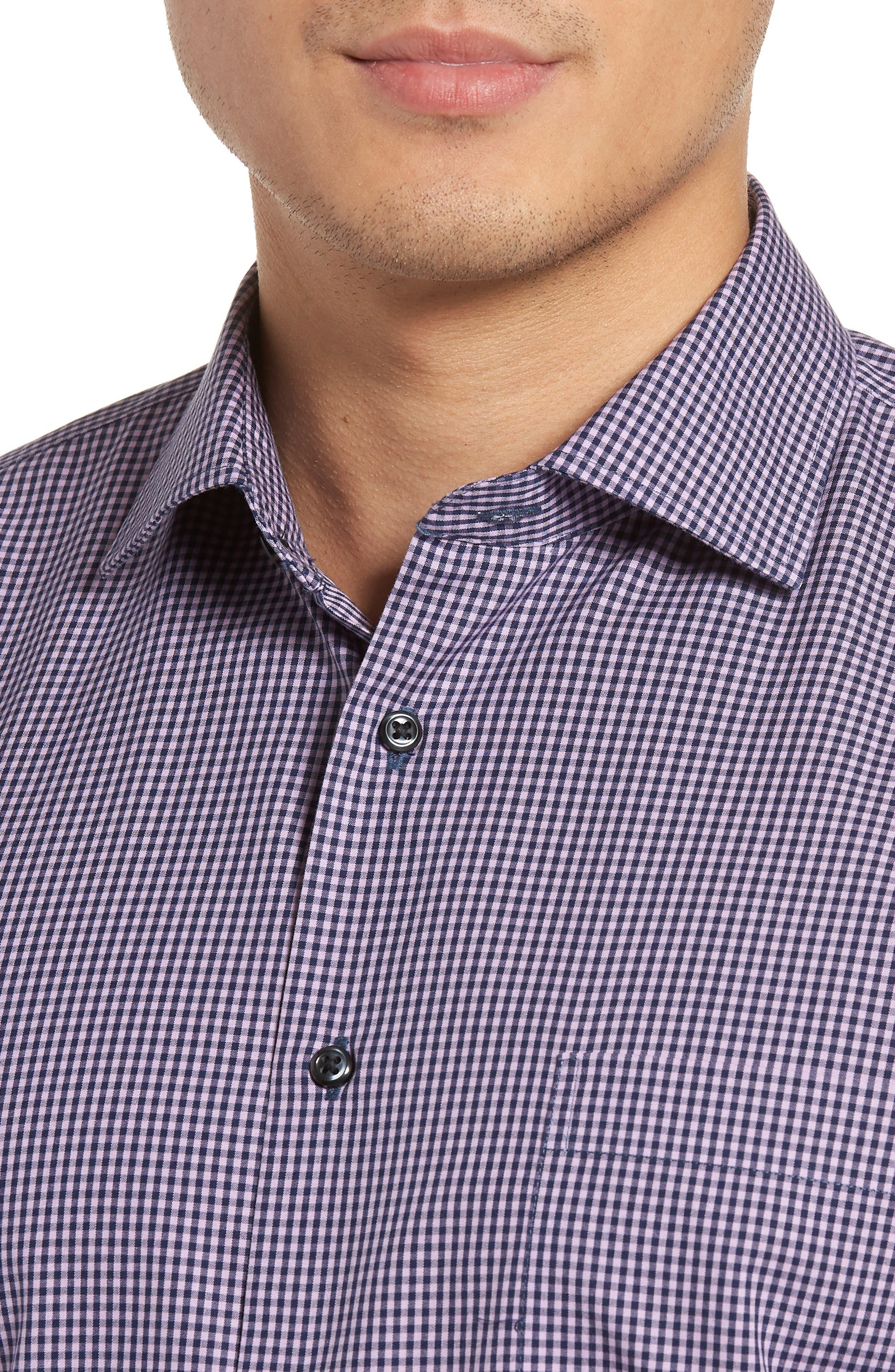 Smartcare<sup>™</sup> Trim Fit Check Dress Shirt,                             Alternate thumbnail 7, color,