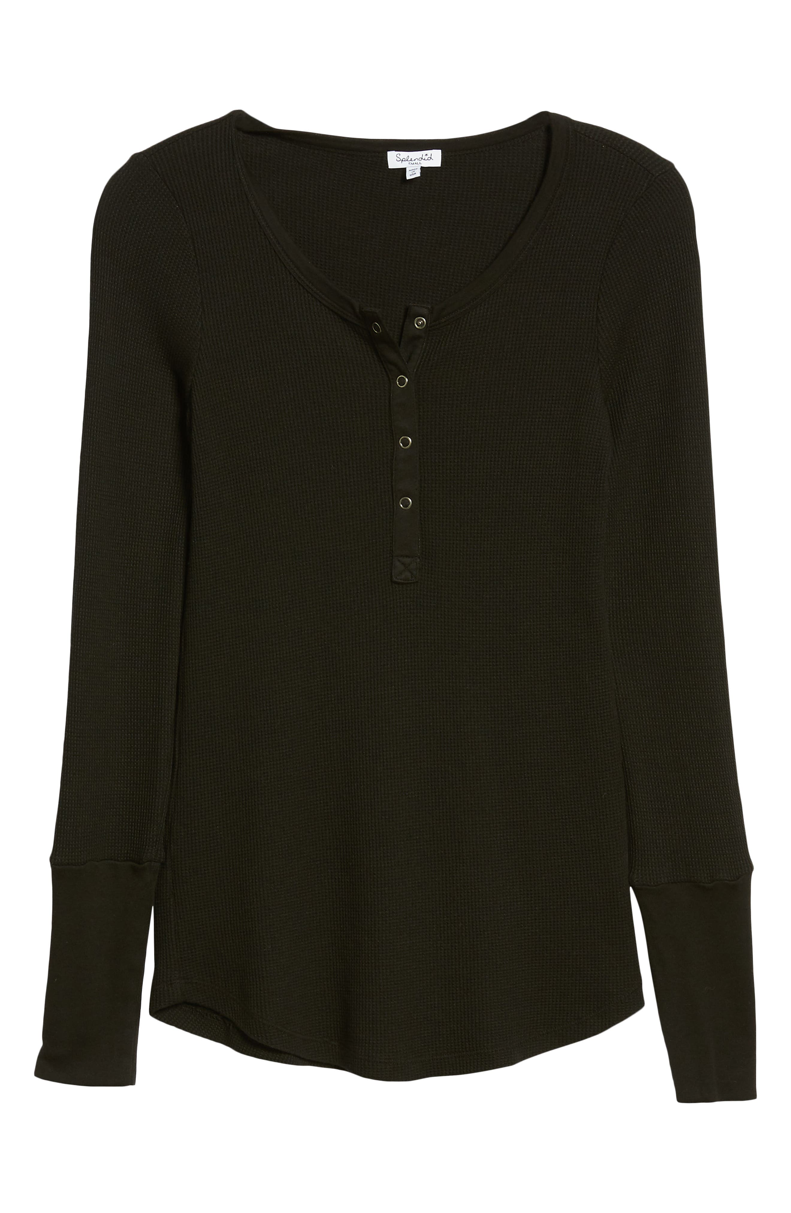 Classic Henley Thermal,                             Alternate thumbnail 6, color,                             BLACK