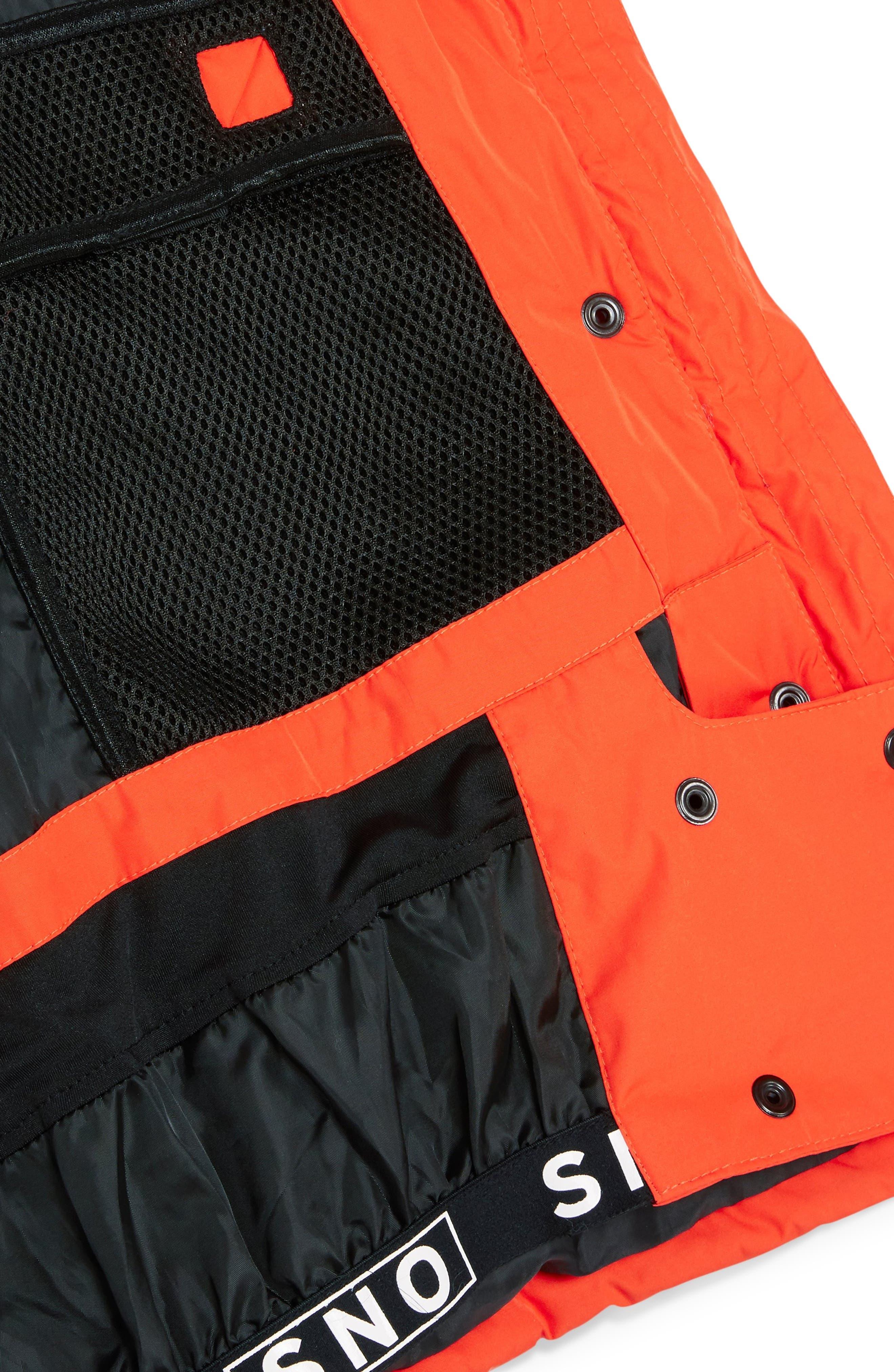 Sno Faux Fur Trim Puffer Jacket,                             Alternate thumbnail 4, color,                             ORANGE MULTI