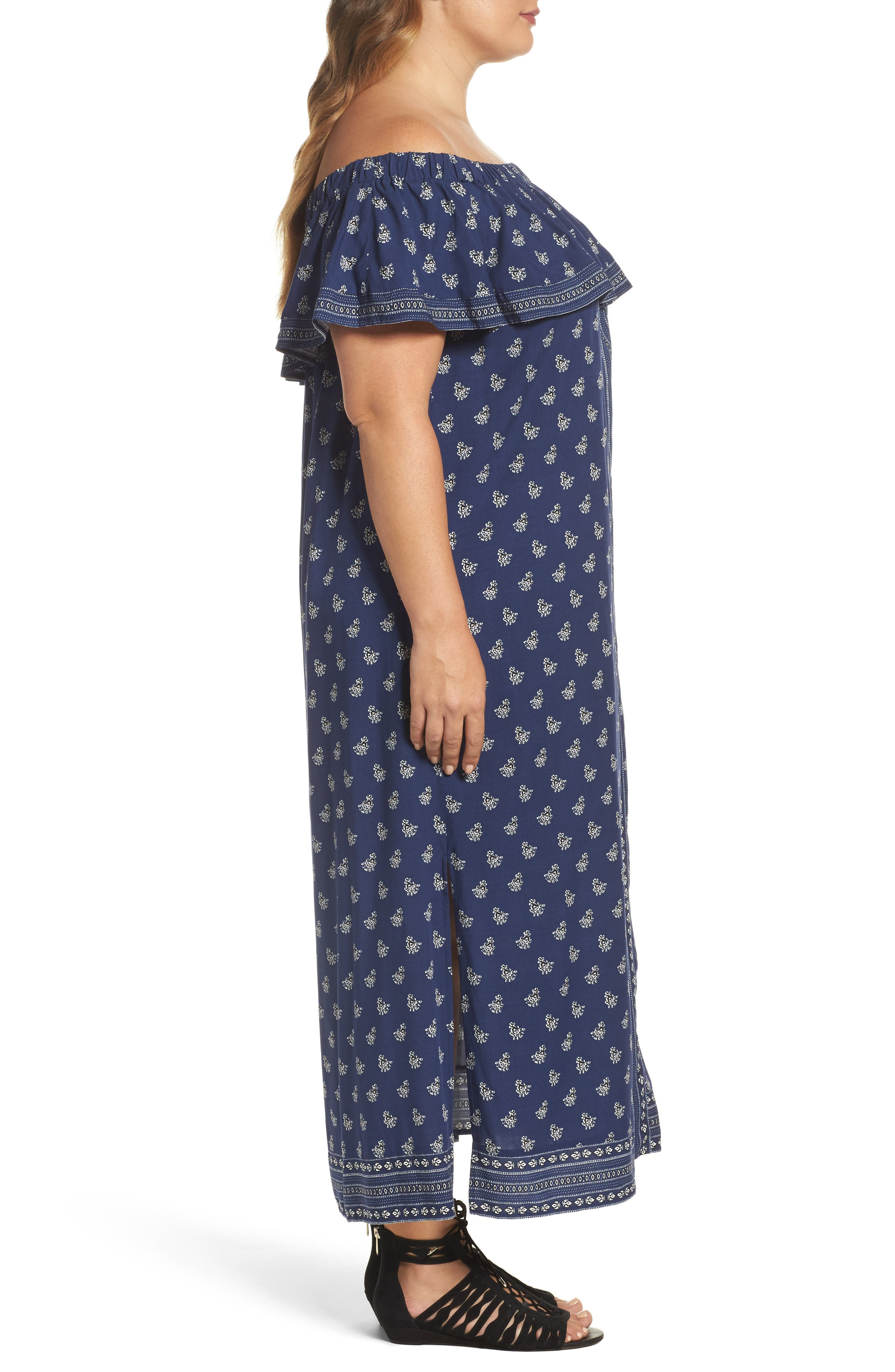 Paisley Off the Shoulder Maxi Dress,                             Alternate thumbnail 3, color,                             481