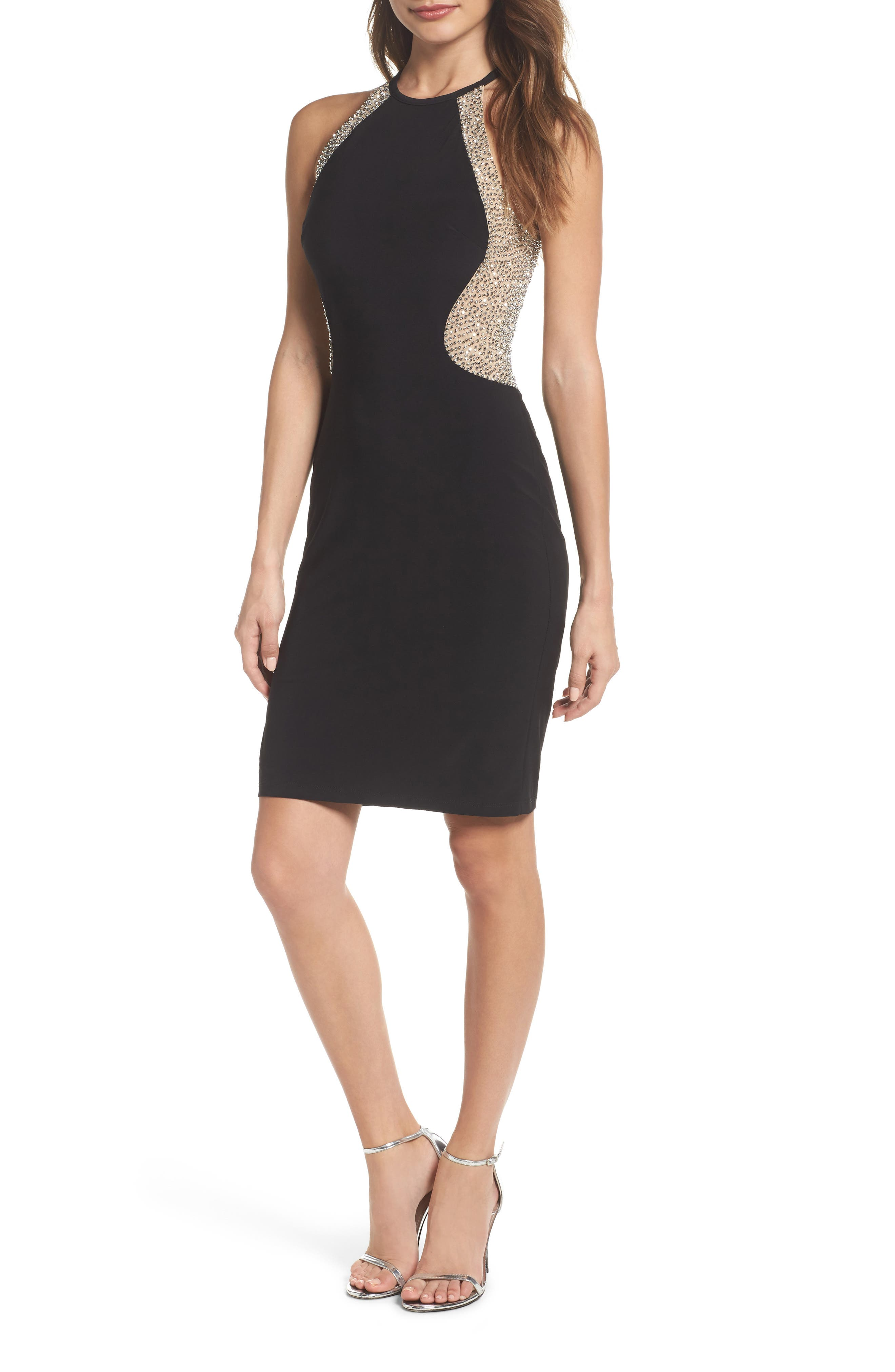 Beaded Mesh & Jersey Sheath Dress,                             Main thumbnail 1, color,                             009