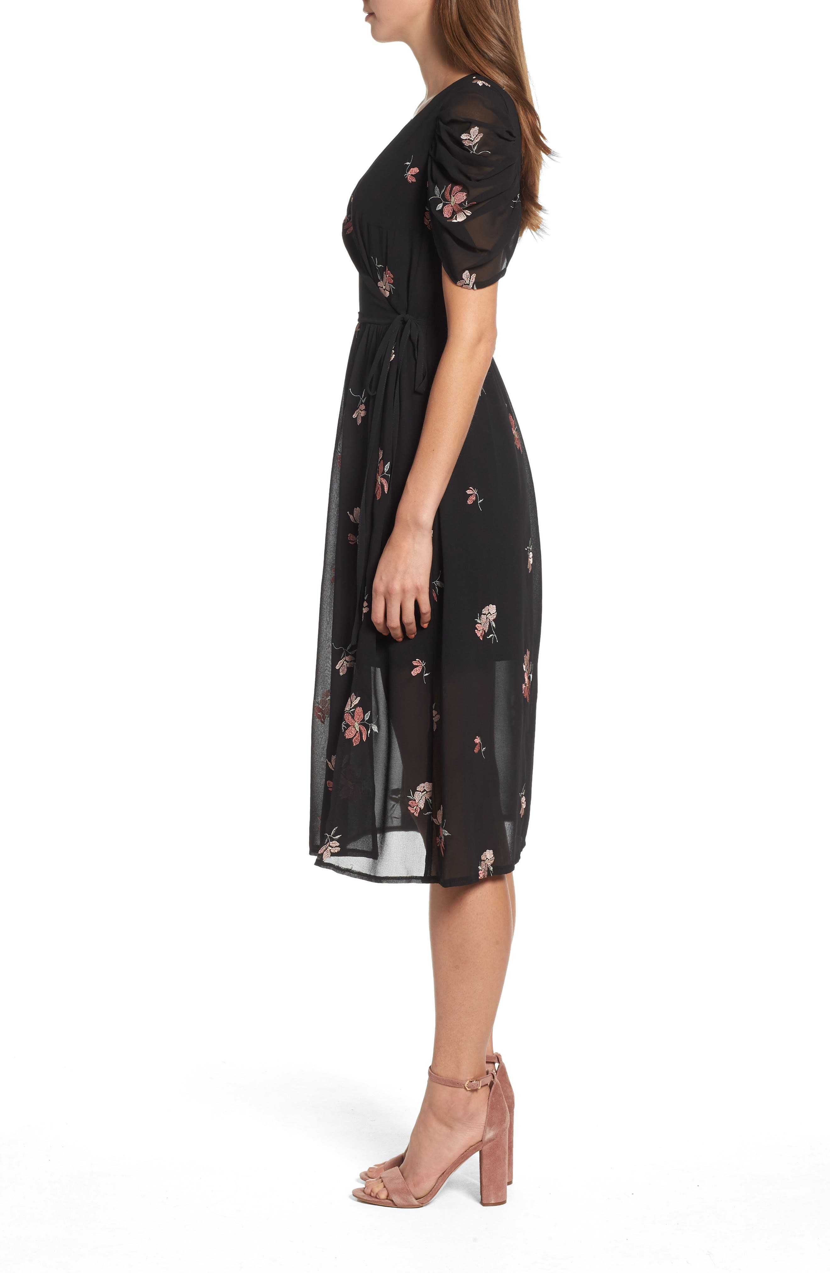 Floral Embroidered Wrap Midi Dress,                             Alternate thumbnail 3, color,                             BLACK