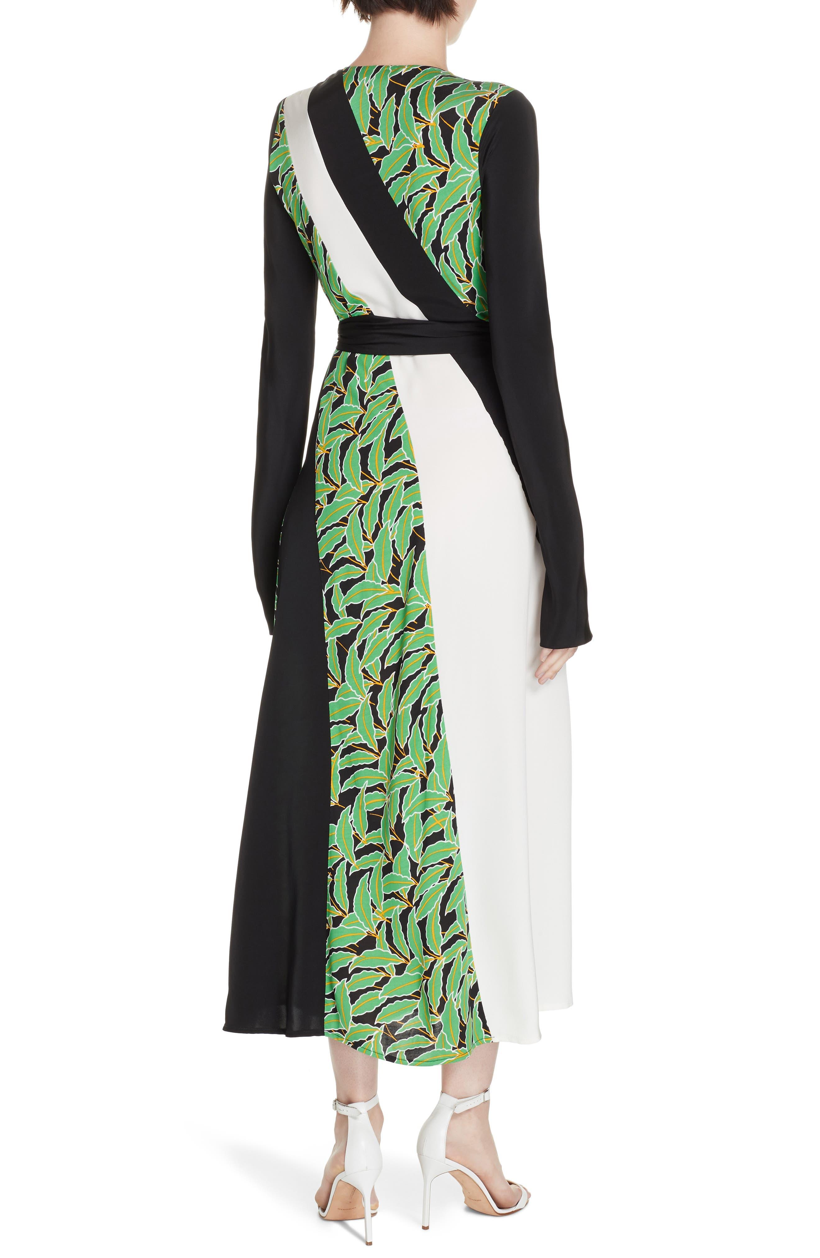 Maureen Leaf Print Silk Wrap Dress,                             Alternate thumbnail 2, color,                             WINDSOR PALM BLACK MULTI