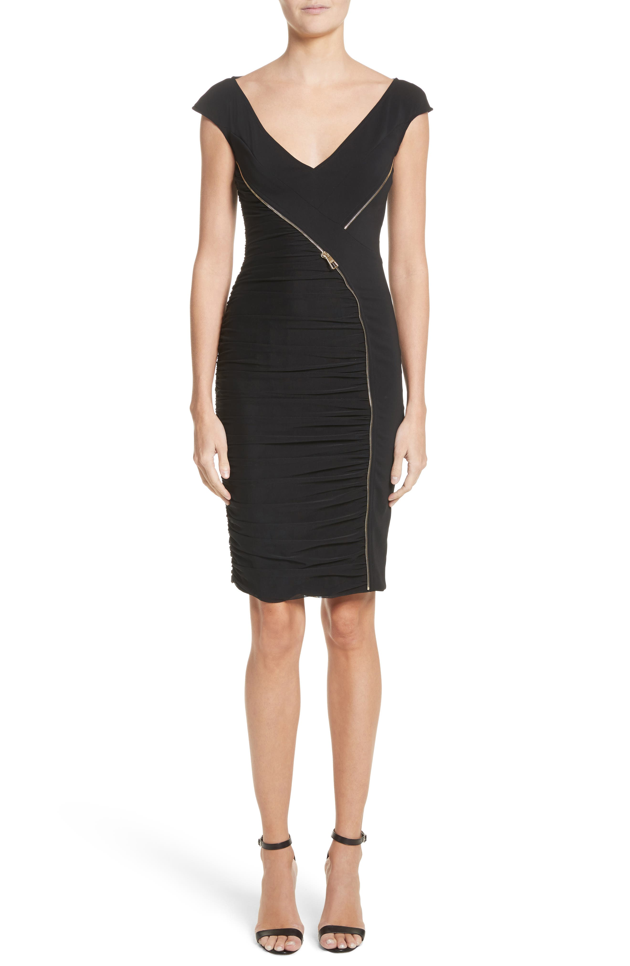 Zipper Detail Sheath Dress,                             Main thumbnail 1, color,                             001