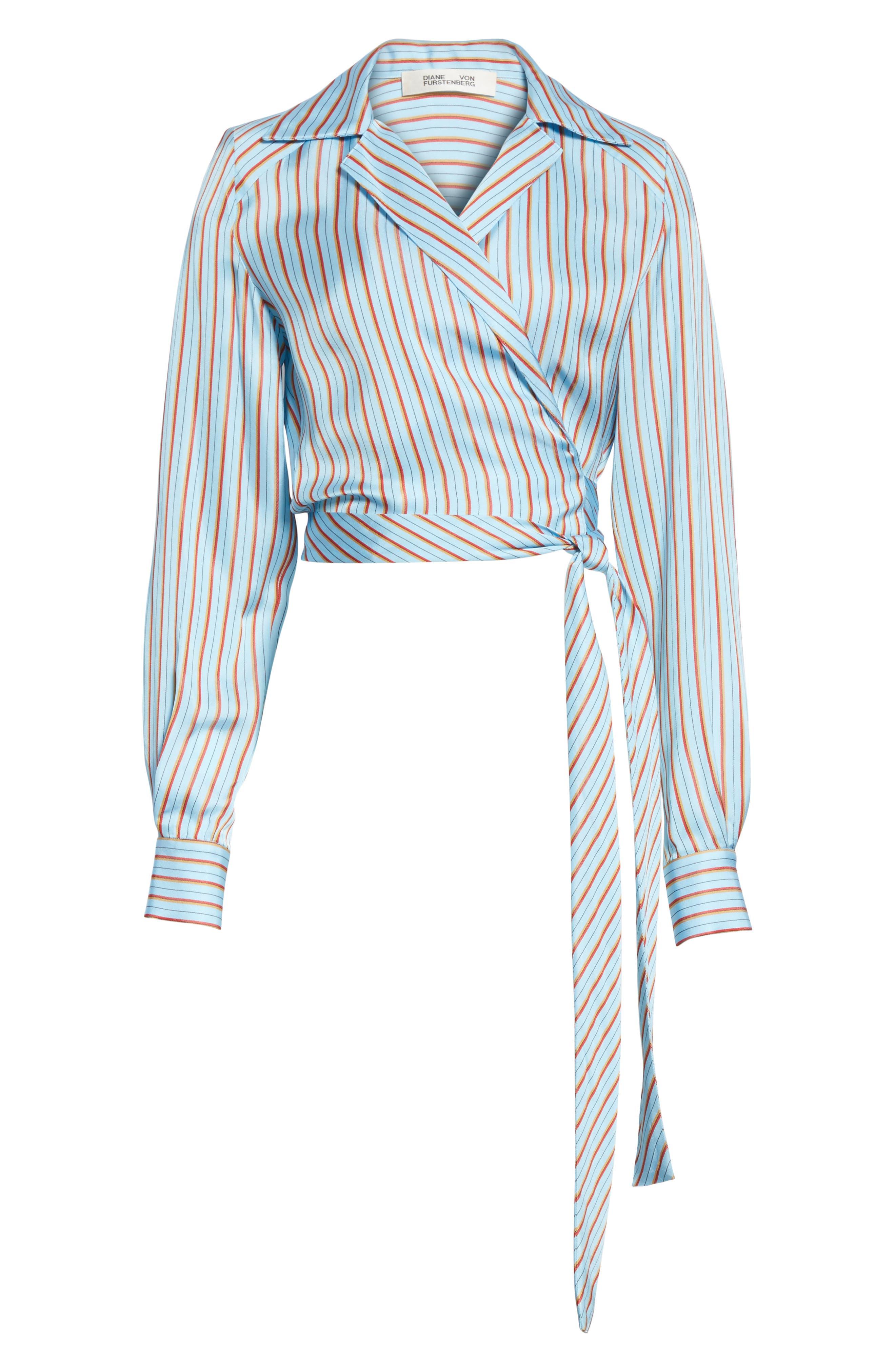 Diane von Furstenberg Stripe Wrap Top,                             Alternate thumbnail 6, color,                             477