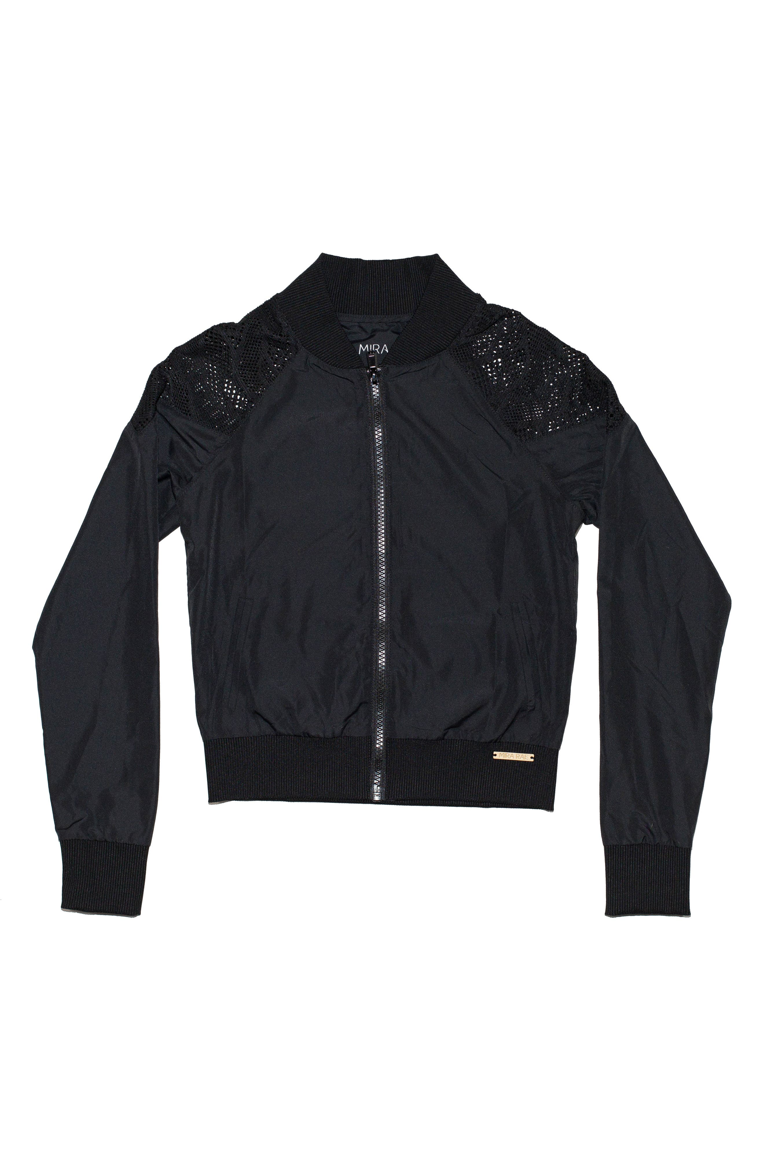 Lace Inset Bomber Jacket,                             Main thumbnail 1, color,                             001