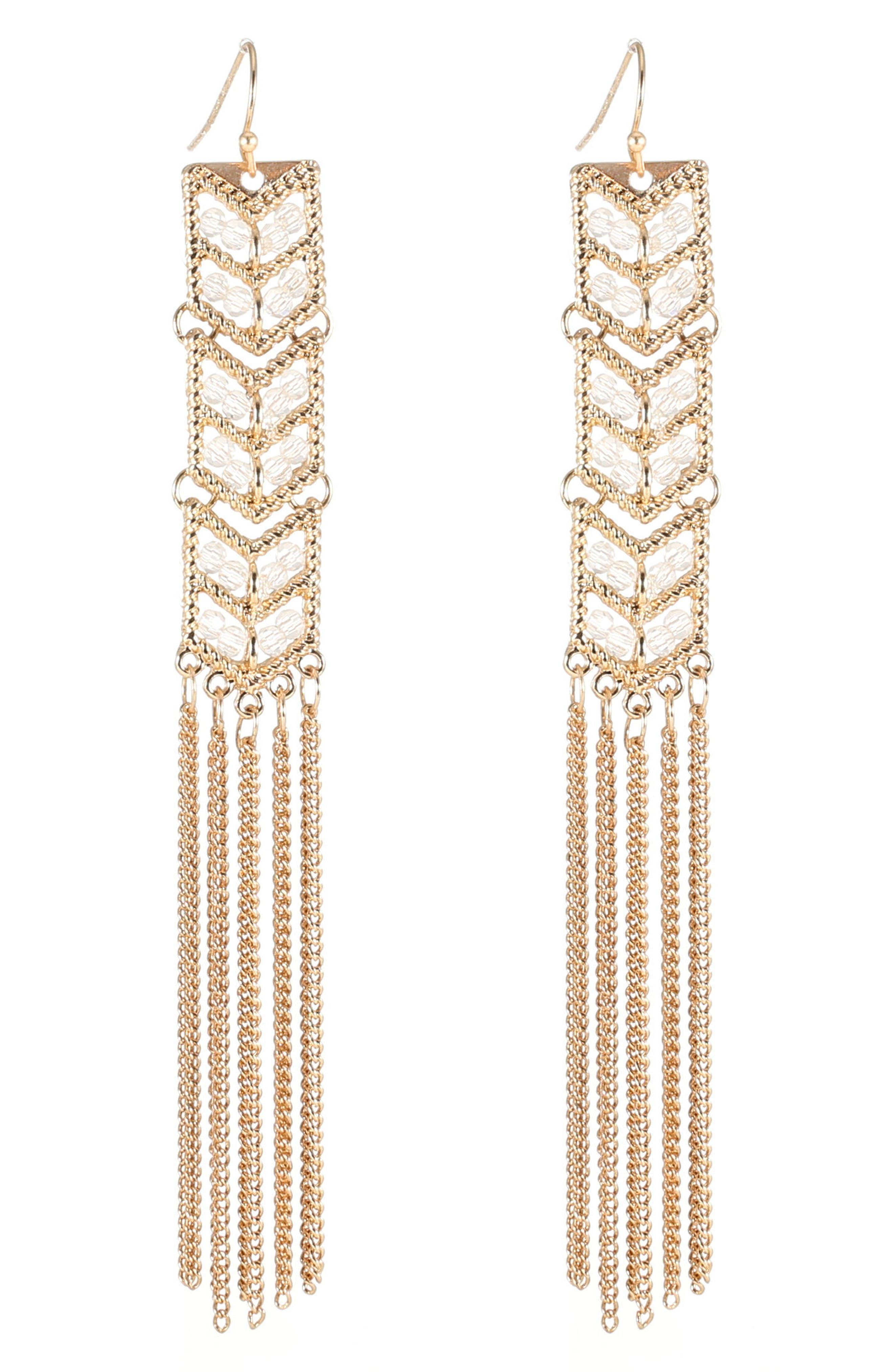 Tassel Chain Statement Earrings,                             Main thumbnail 1, color,                             710