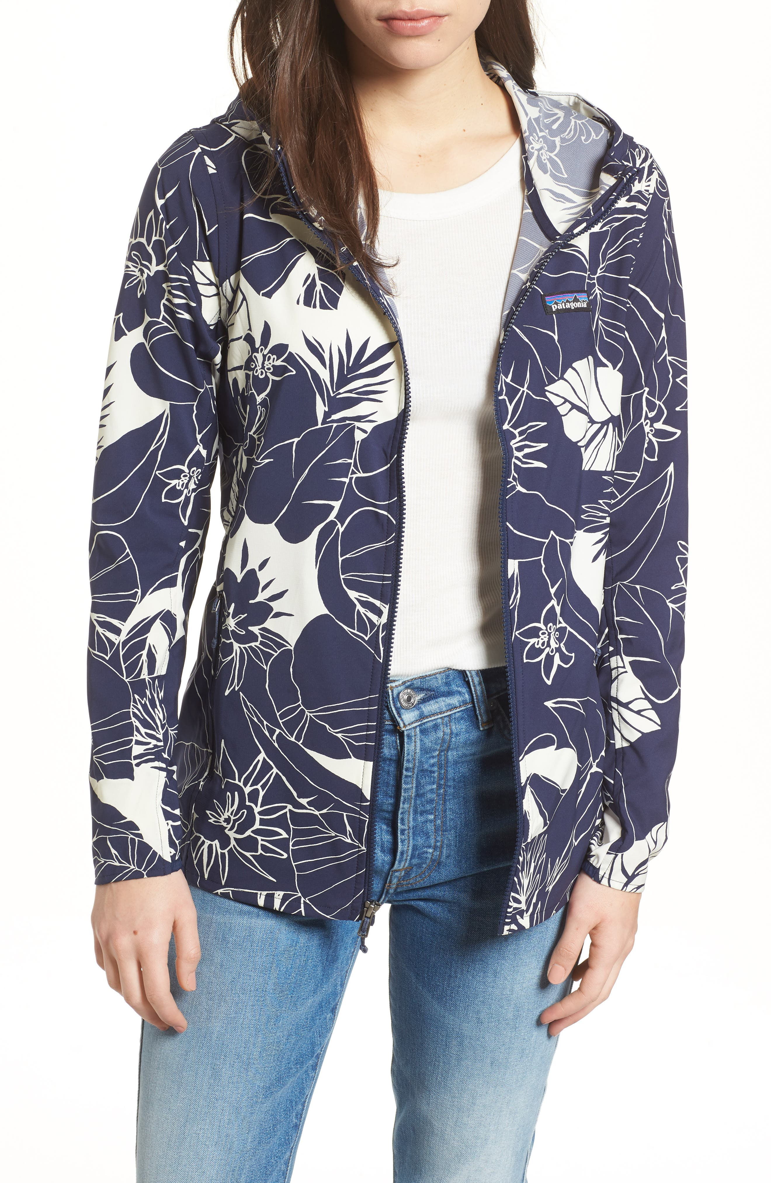 Bajadas Hoodie Jacket,                             Main thumbnail 1, color,                             CLASSIC NAVY/ BIRCH WHITE
