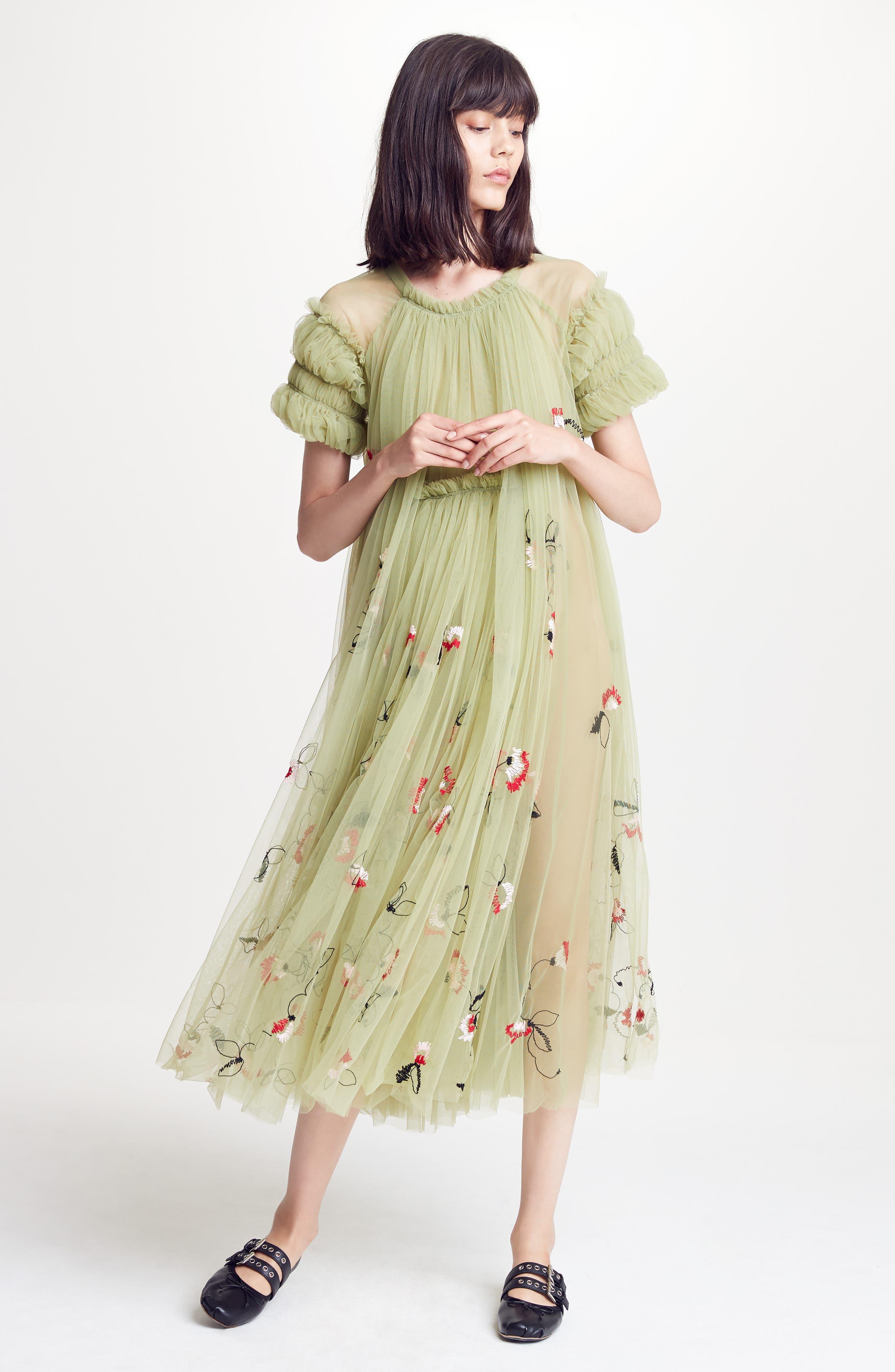 Doris Embroidered Tulle Dress,                             Alternate thumbnail 8, color,                             950