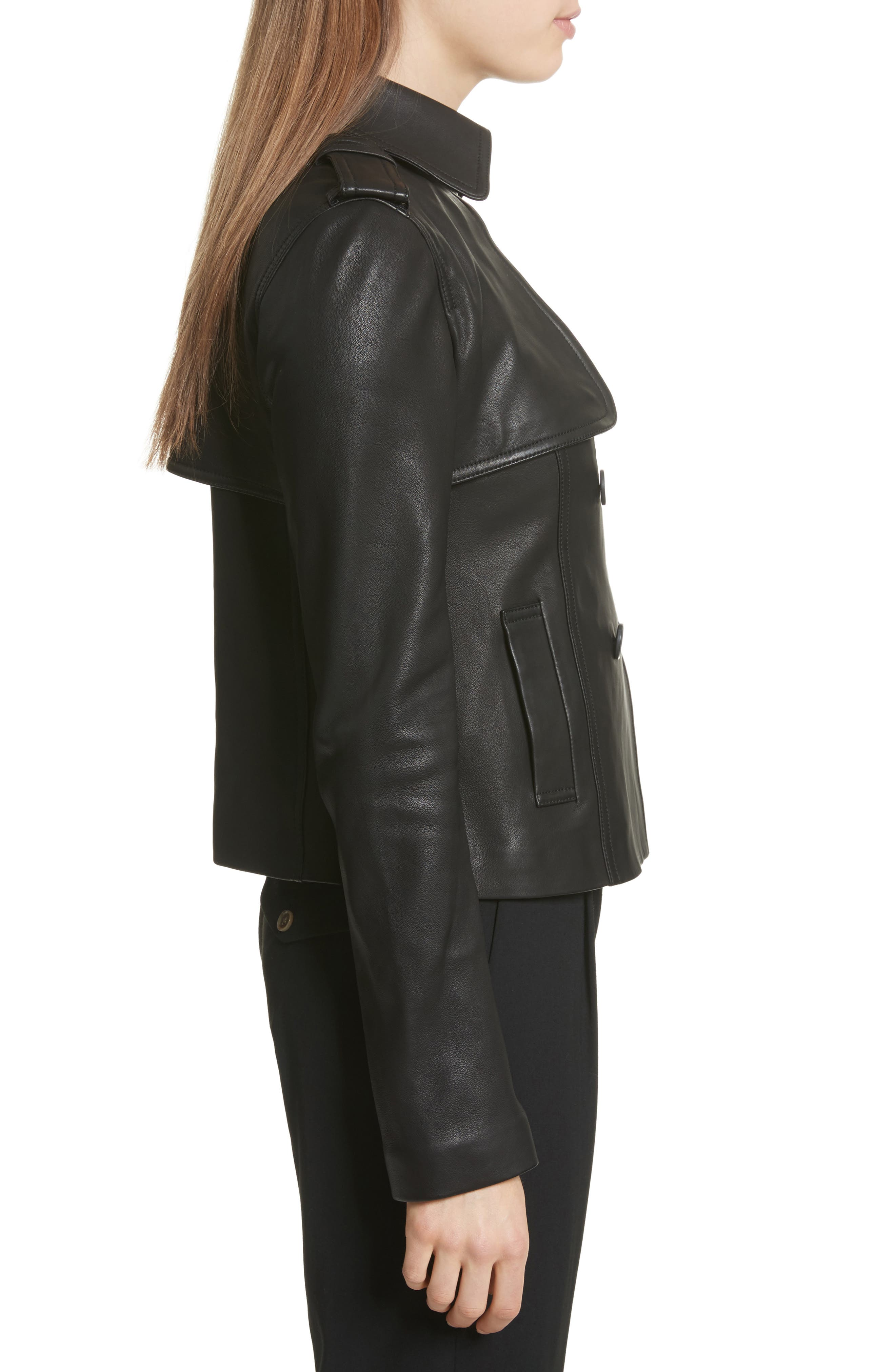 Crop Leather Trench Coat,                             Alternate thumbnail 3, color,                             001