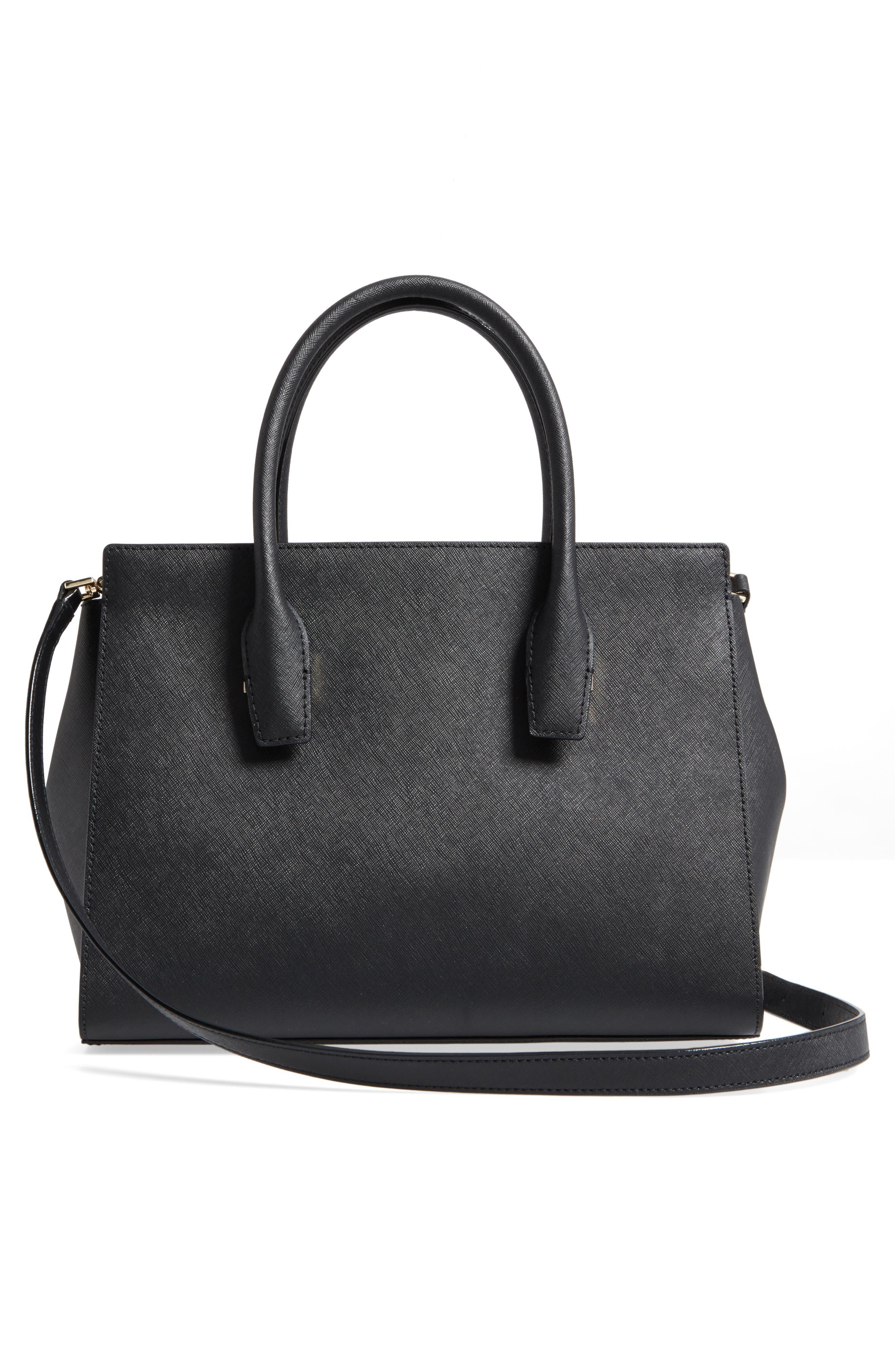 make it mine - candace leather satchel,                             Alternate thumbnail 3, color,                             001