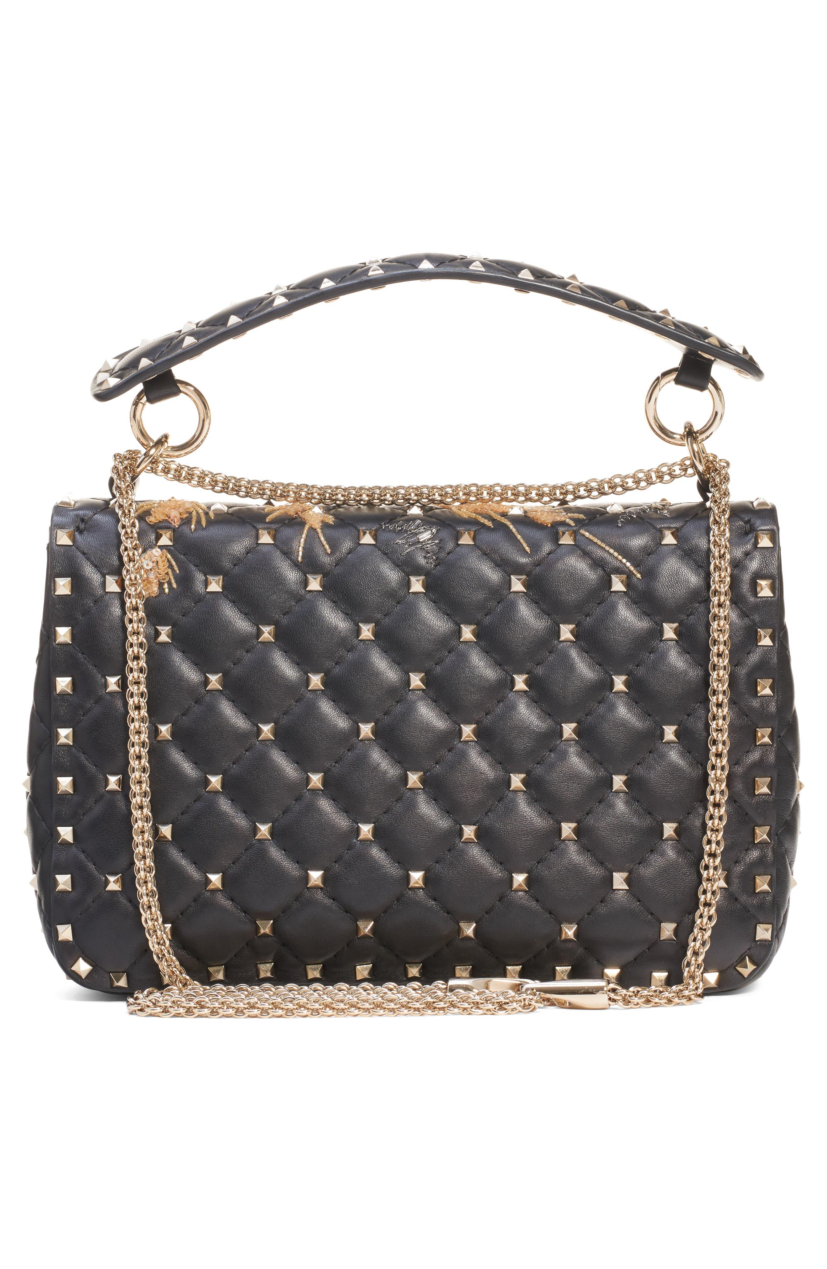 Medium Spike.It Beaded Leather Shoulder Bag,                             Alternate thumbnail 3, color,                             NERO