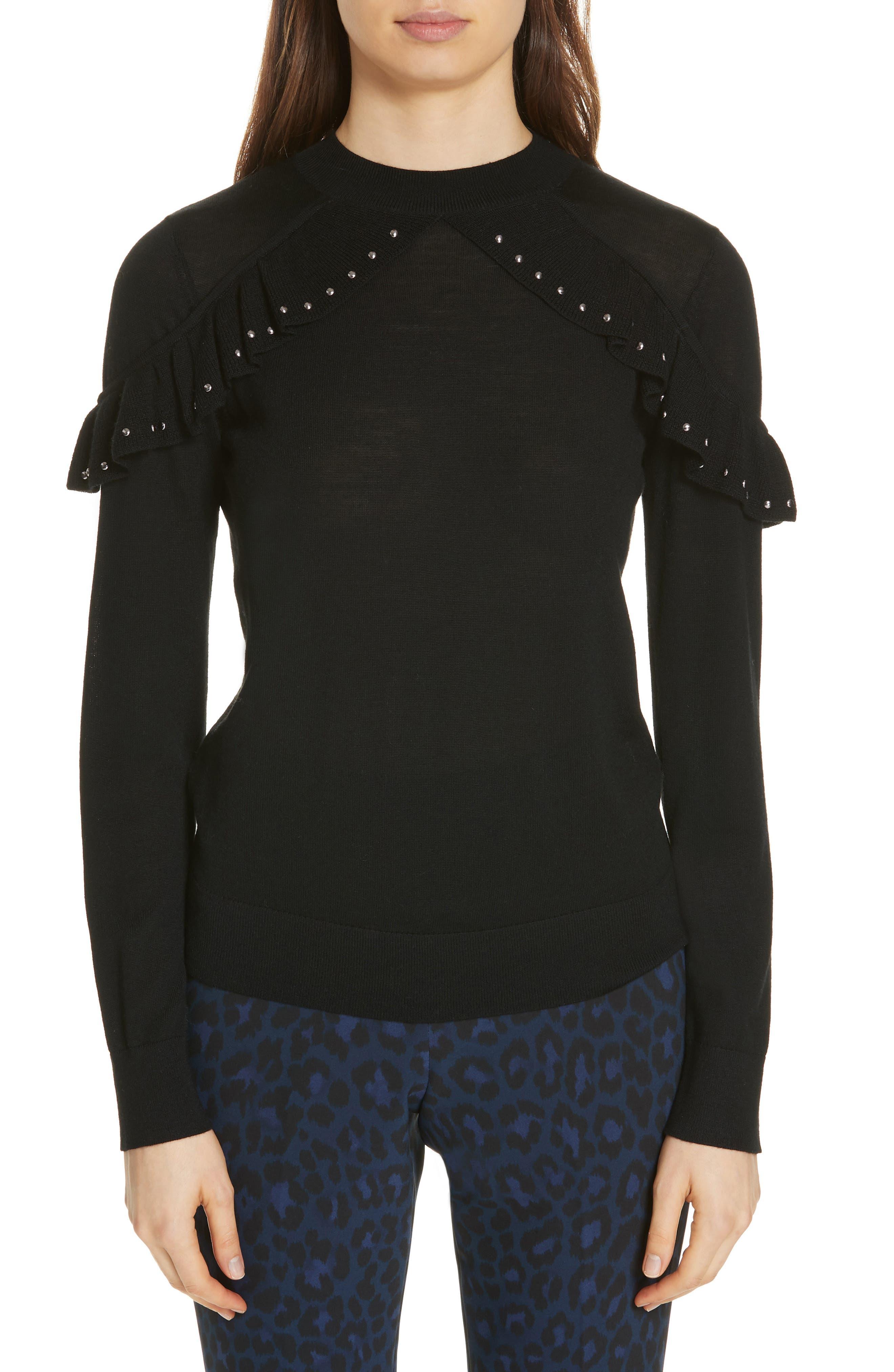 Kate Spade New York Studded Ruffle Sweater, Black