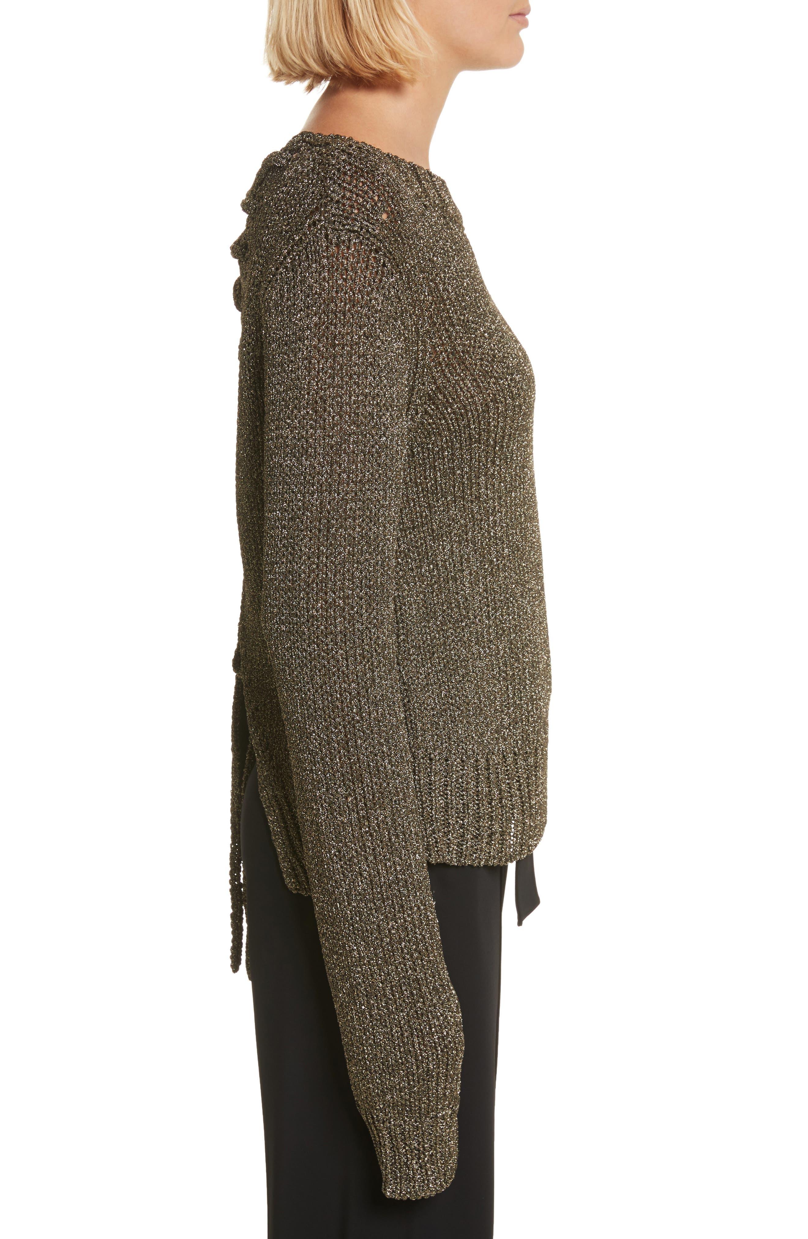 Marjorie Lace-Up Back Sweater,                             Alternate thumbnail 3, color,                             010
