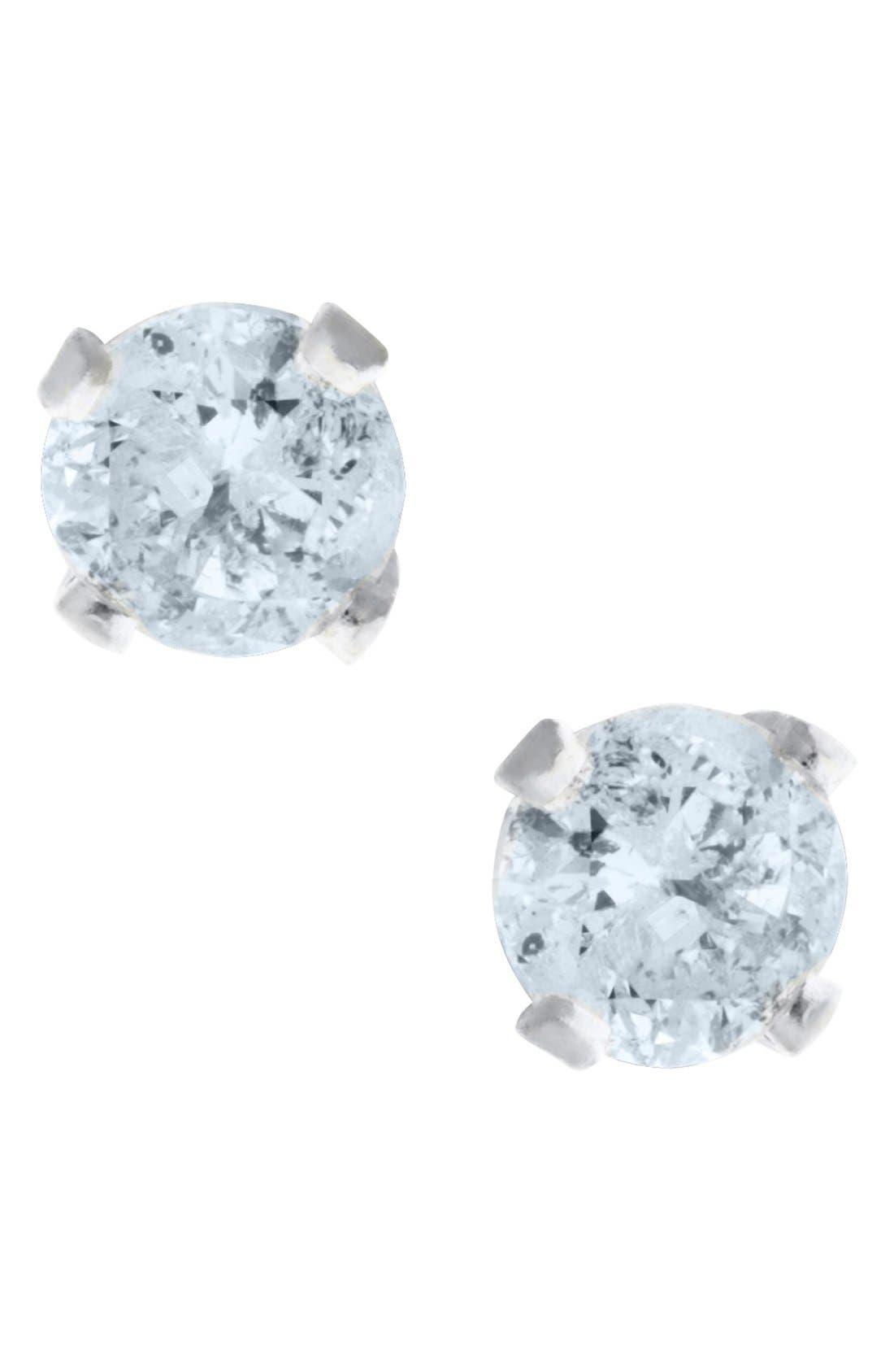 14k White Gold & Diamond Stud Earrings,                             Main thumbnail 1, color,                             SILVER