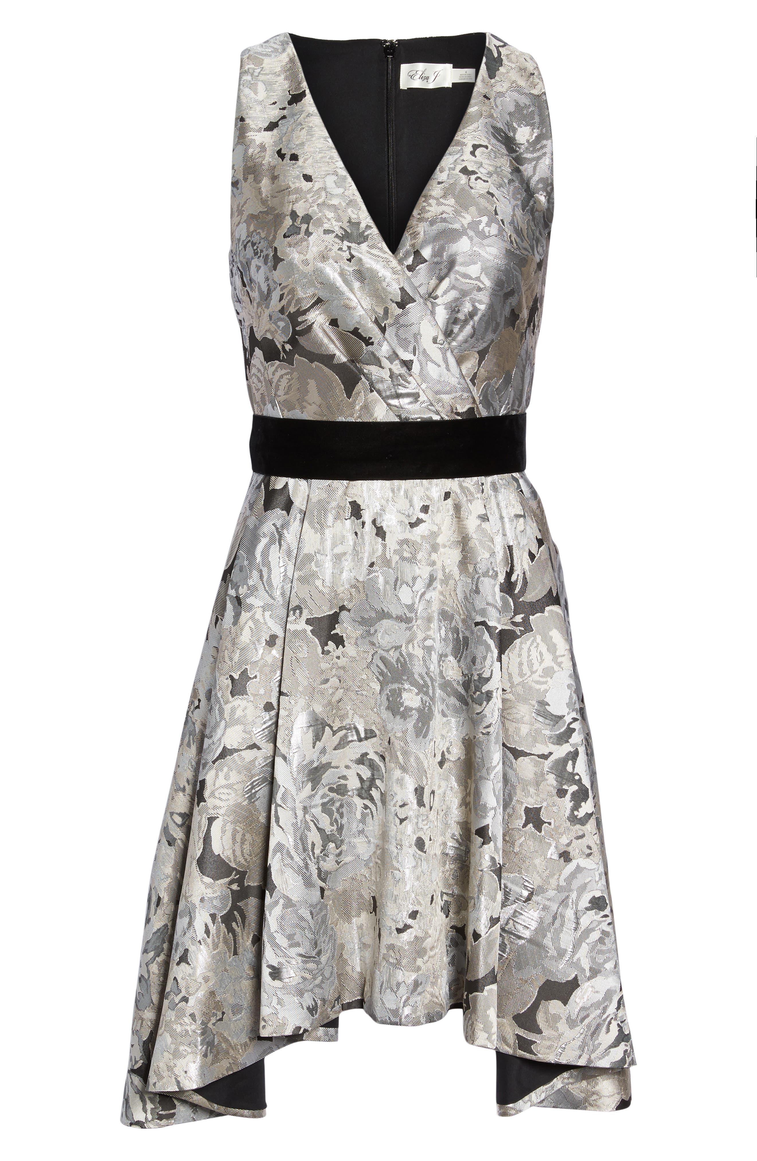 Jacquard High/Low Dress,                             Alternate thumbnail 6, color,                             043