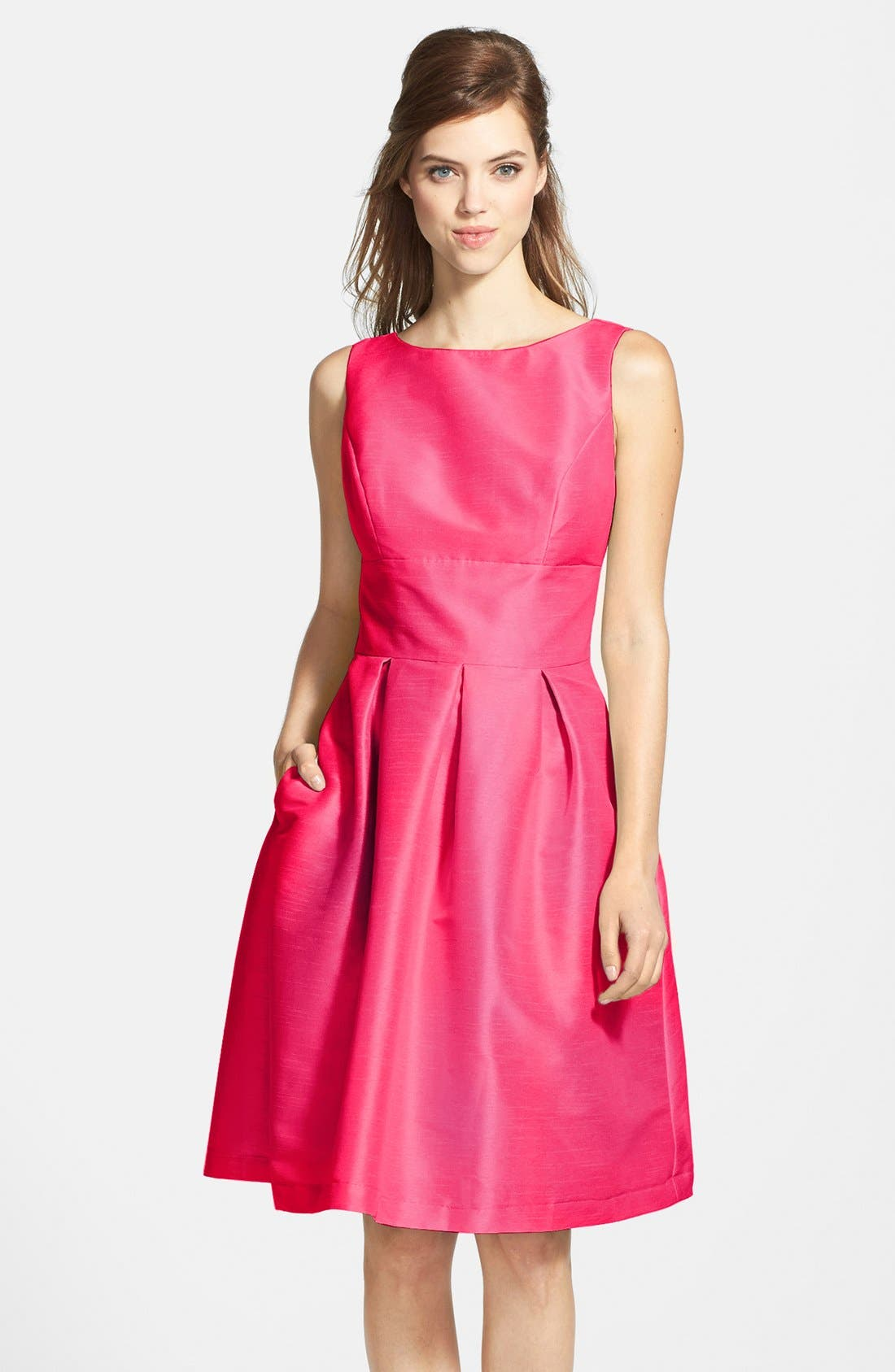 Dupioni Fit & Flare Dress,                             Main thumbnail 12, color,