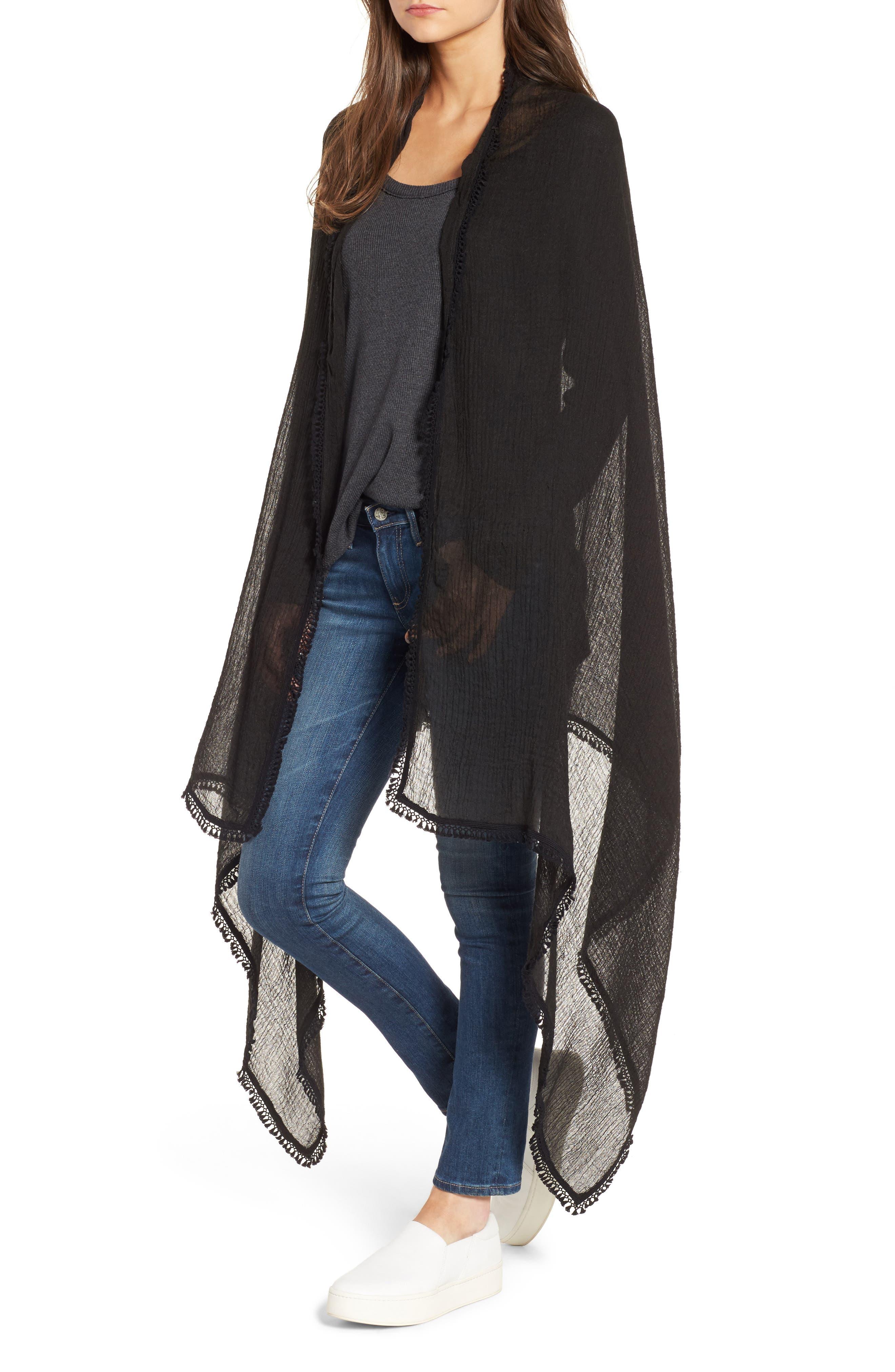 Tassel Wrap,                         Main,                         color, BLACK