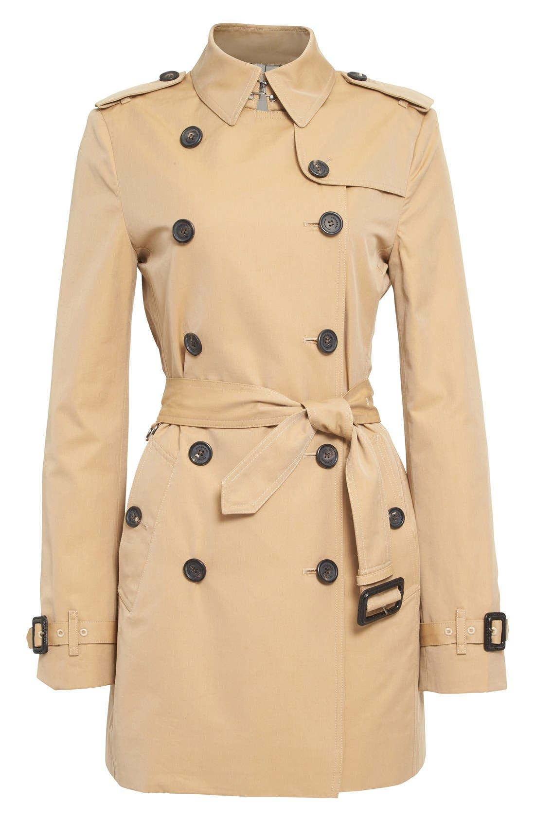 Kensington Short Trench Coat,                             Alternate thumbnail 10, color,                             HONEY