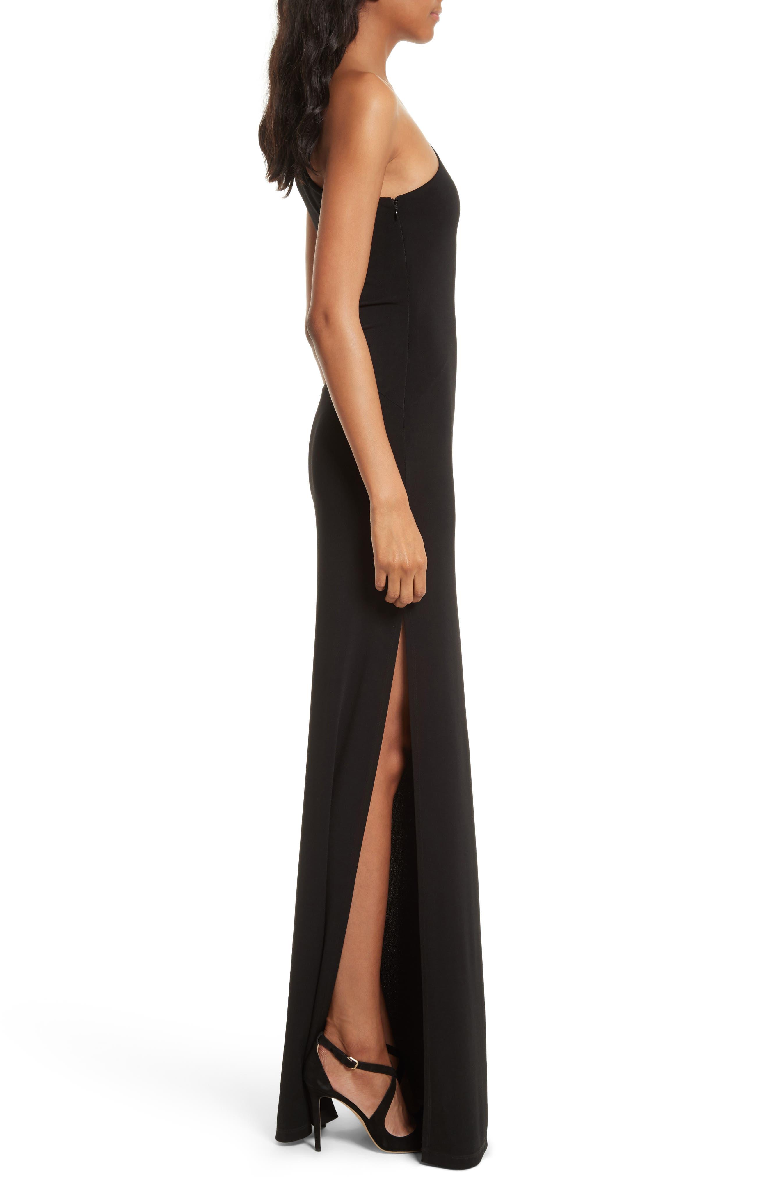 Malia Cutout One-Shoulder Maxi Dress,                             Alternate thumbnail 3, color,                             001
